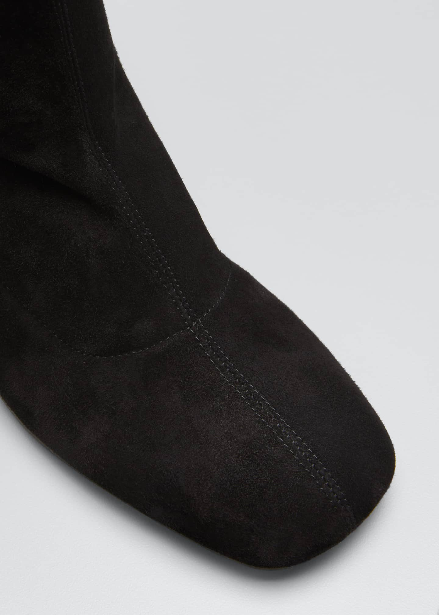 Image 5 of 5: Stretch Suede Zip Knee Boots