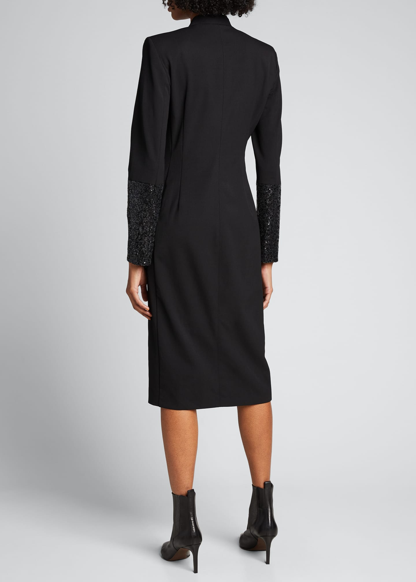 Image 2 of 5: Wool Wrap Dress with Sequined Sleeves