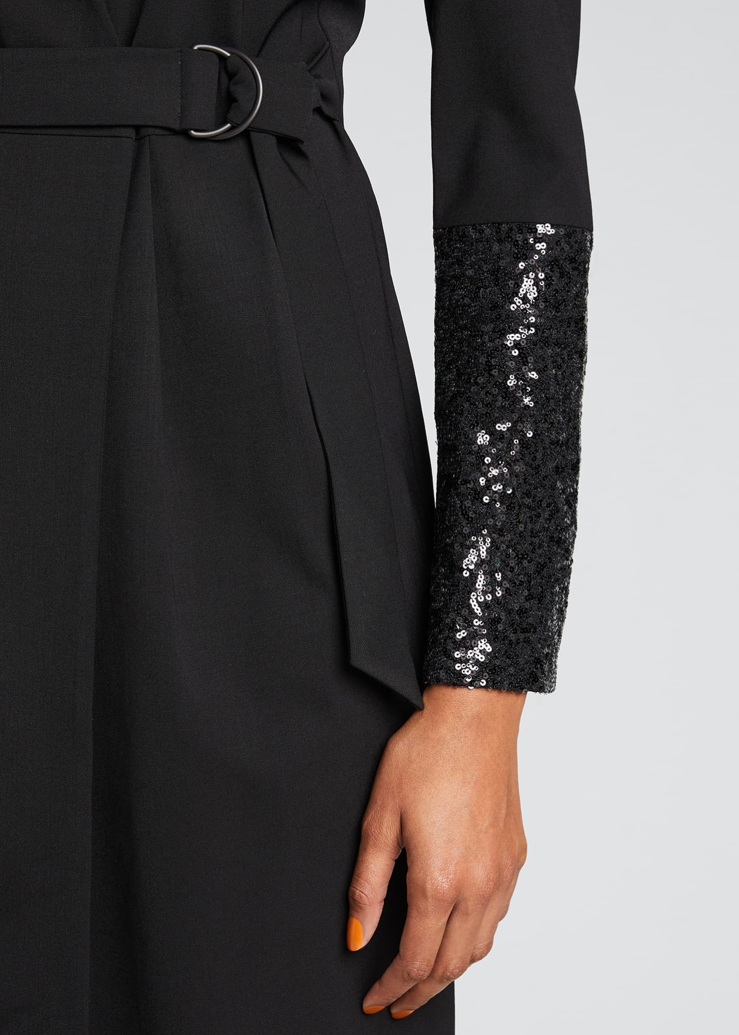 Image 4 of 5: Wool Wrap Dress with Sequined Sleeves