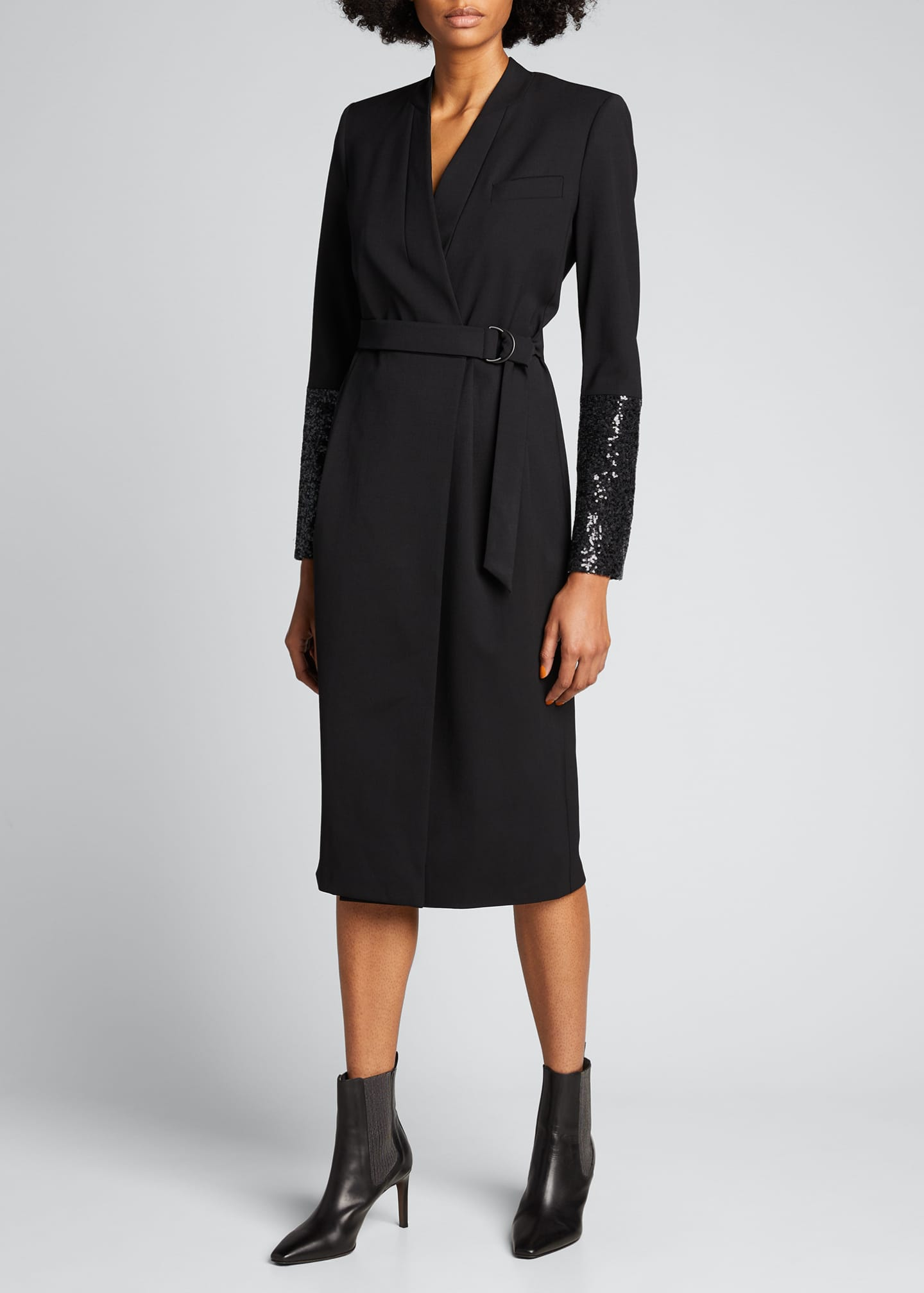 Image 1 of 5: Wool Wrap Dress with Sequined Sleeves