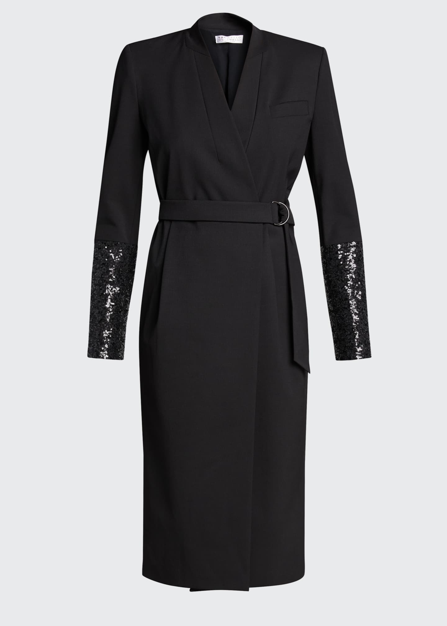 Image 5 of 5: Wool Wrap Dress with Sequined Sleeves