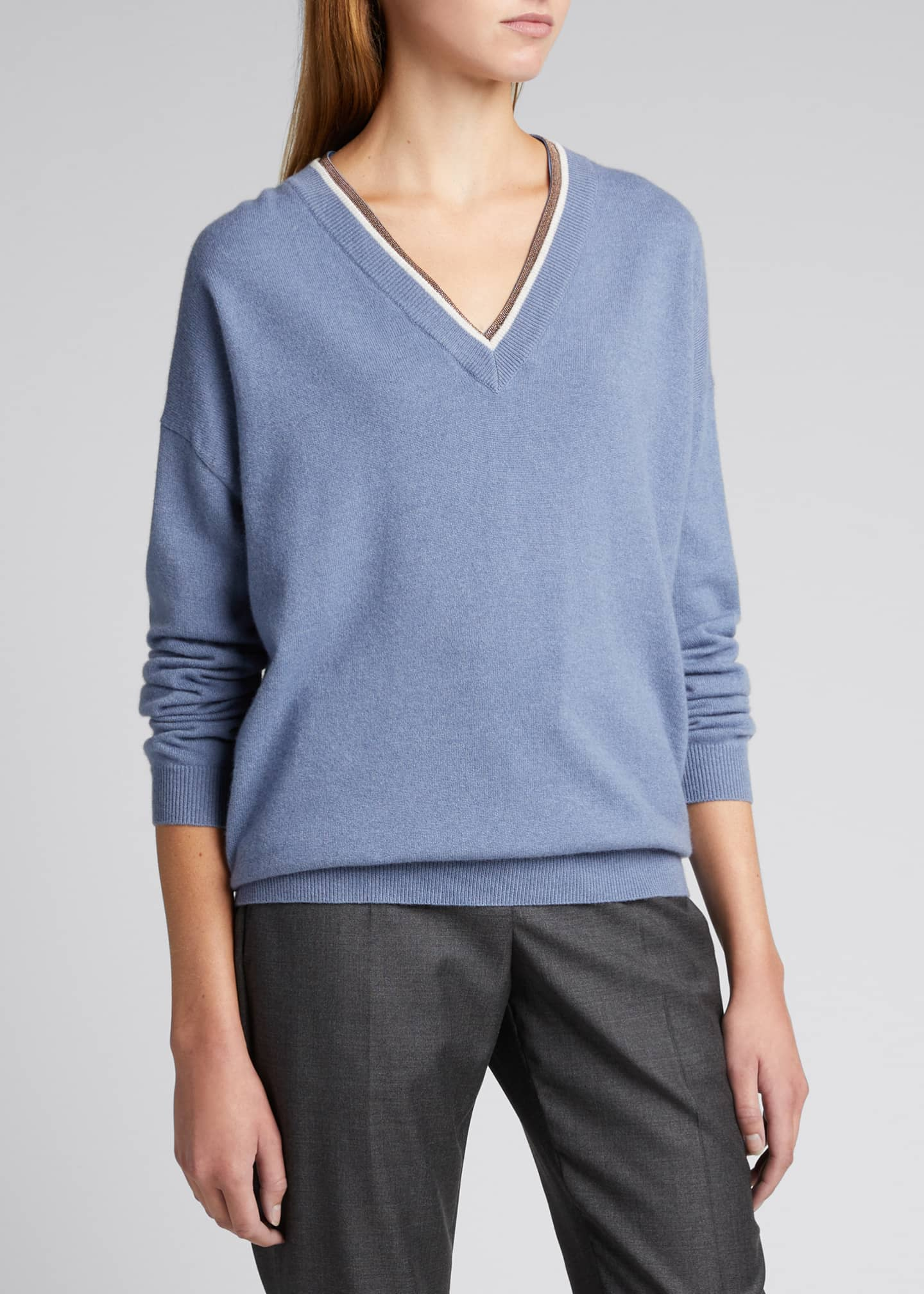 Image 3 of 4: Monili Trim Wool-Blend Sweater