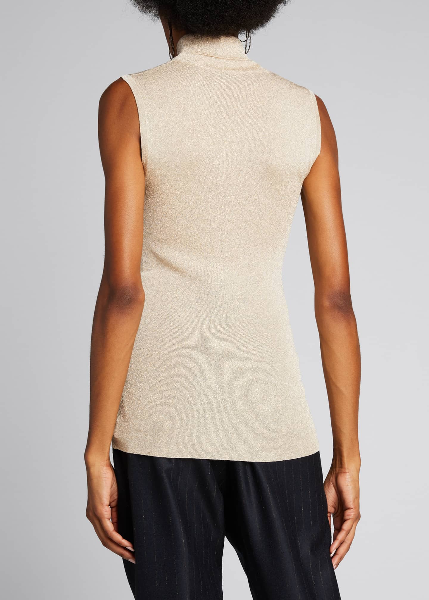 Image 2 of 5: Sleeveless Metallic Turtleneck Top