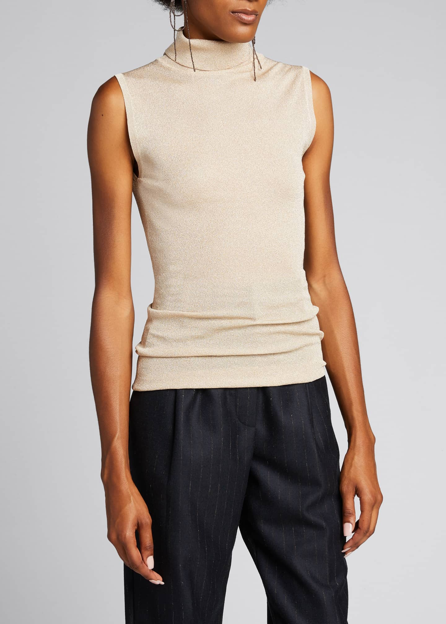 Image 3 of 5: Sleeveless Metallic Turtleneck Top