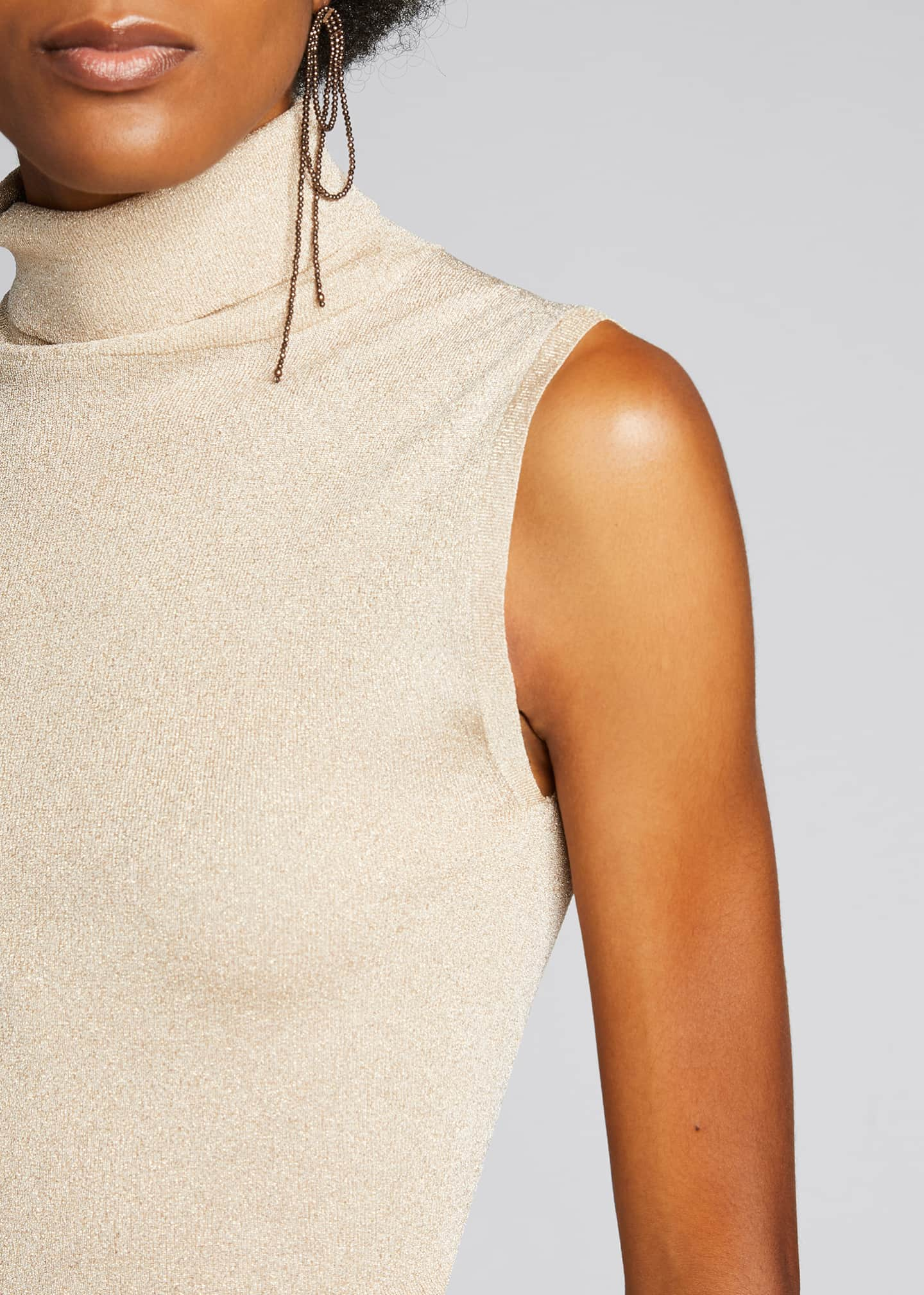 Image 4 of 5: Sleeveless Metallic Turtleneck Top