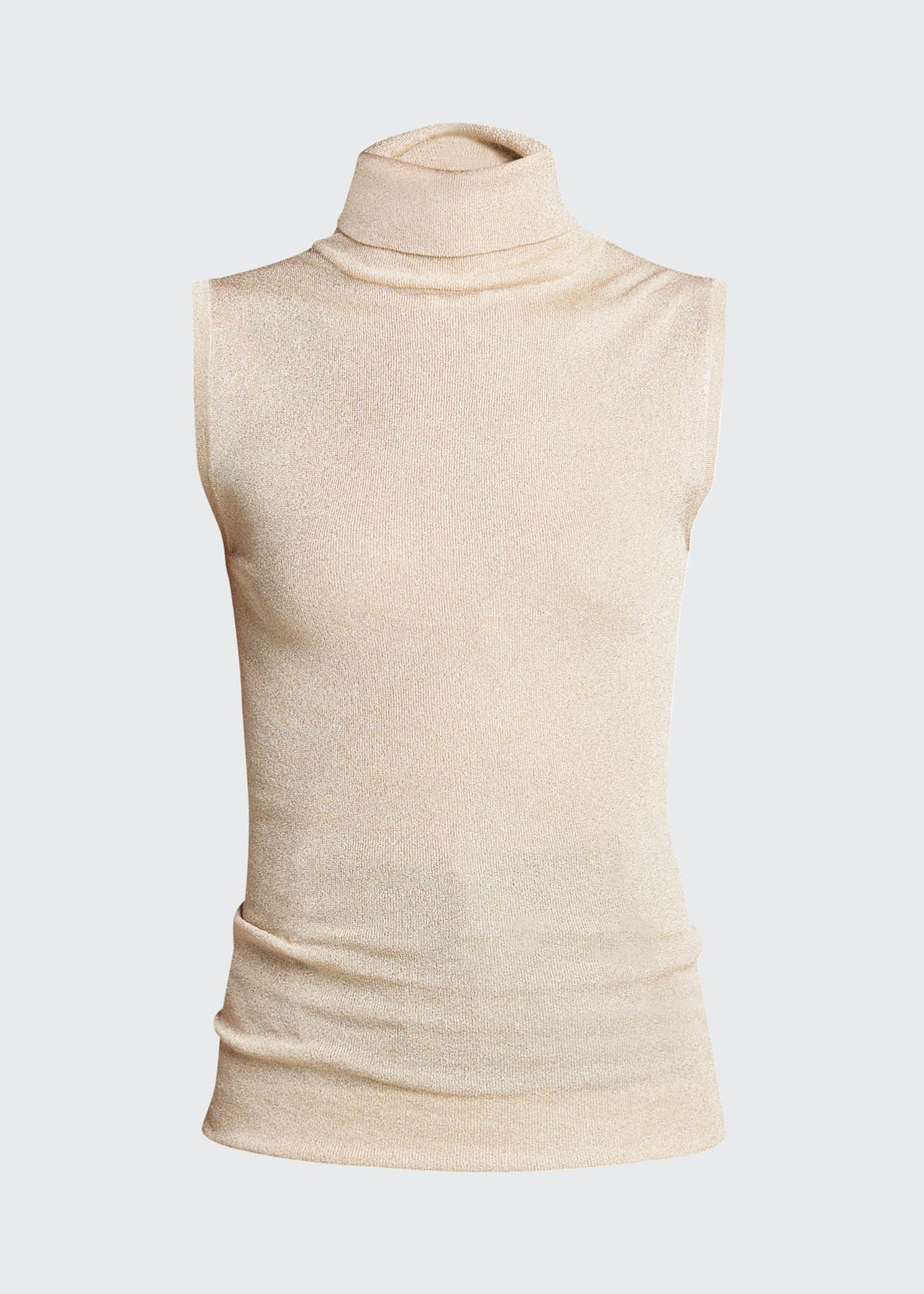 Image 5 of 5: Sleeveless Metallic Turtleneck Top