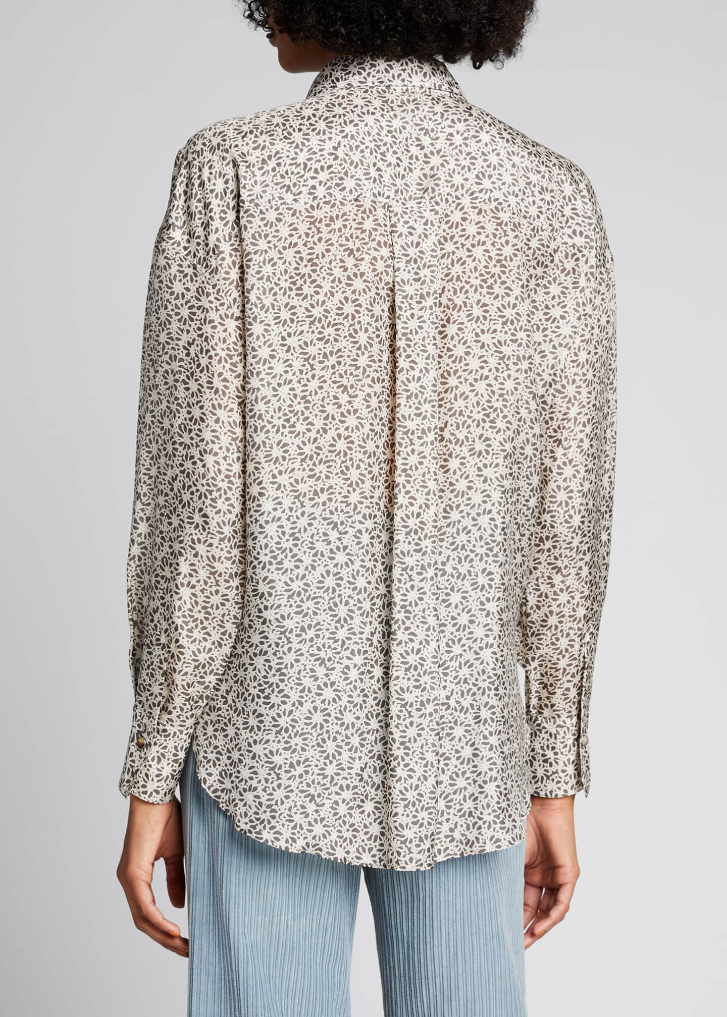 Image 2 of 5: Floral-Print Silk Blouse with Pockets