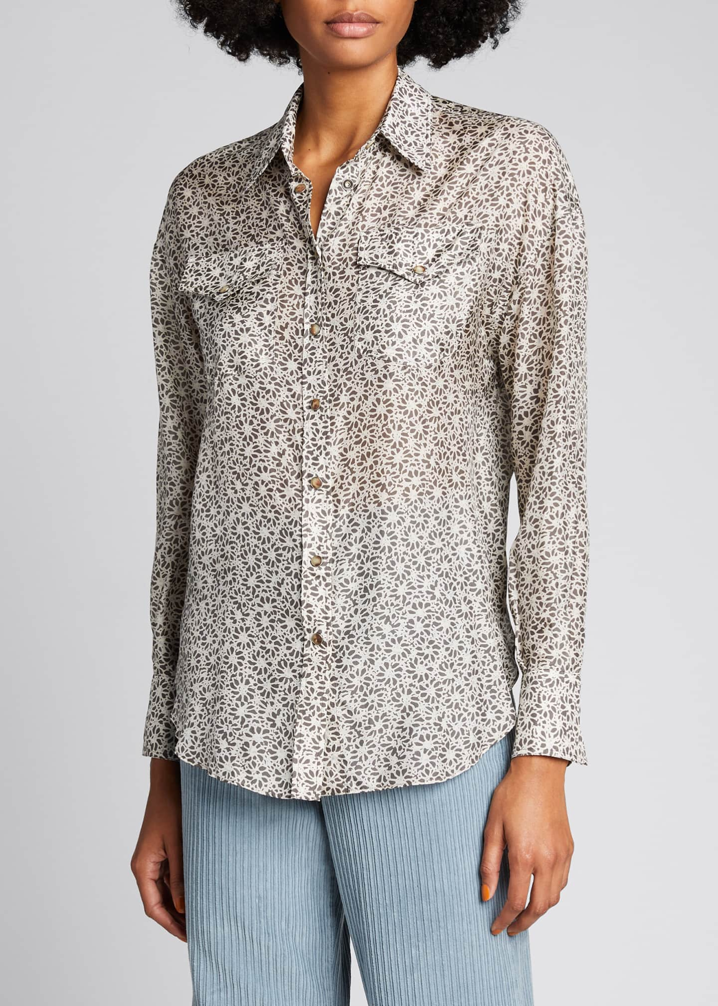 Image 3 of 5: Floral-Print Silk Blouse with Pockets