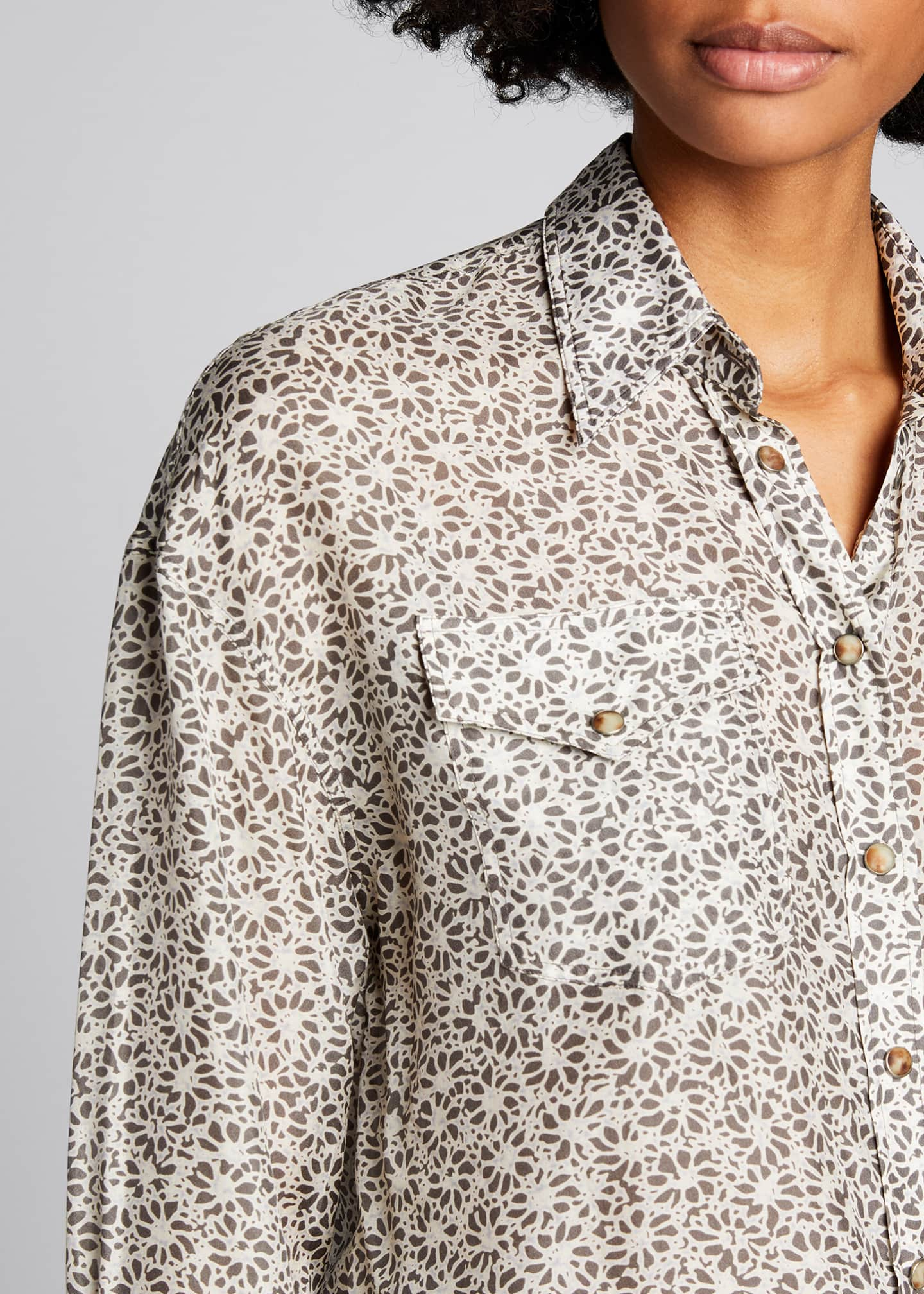 Image 4 of 5: Floral-Print Silk Blouse with Pockets