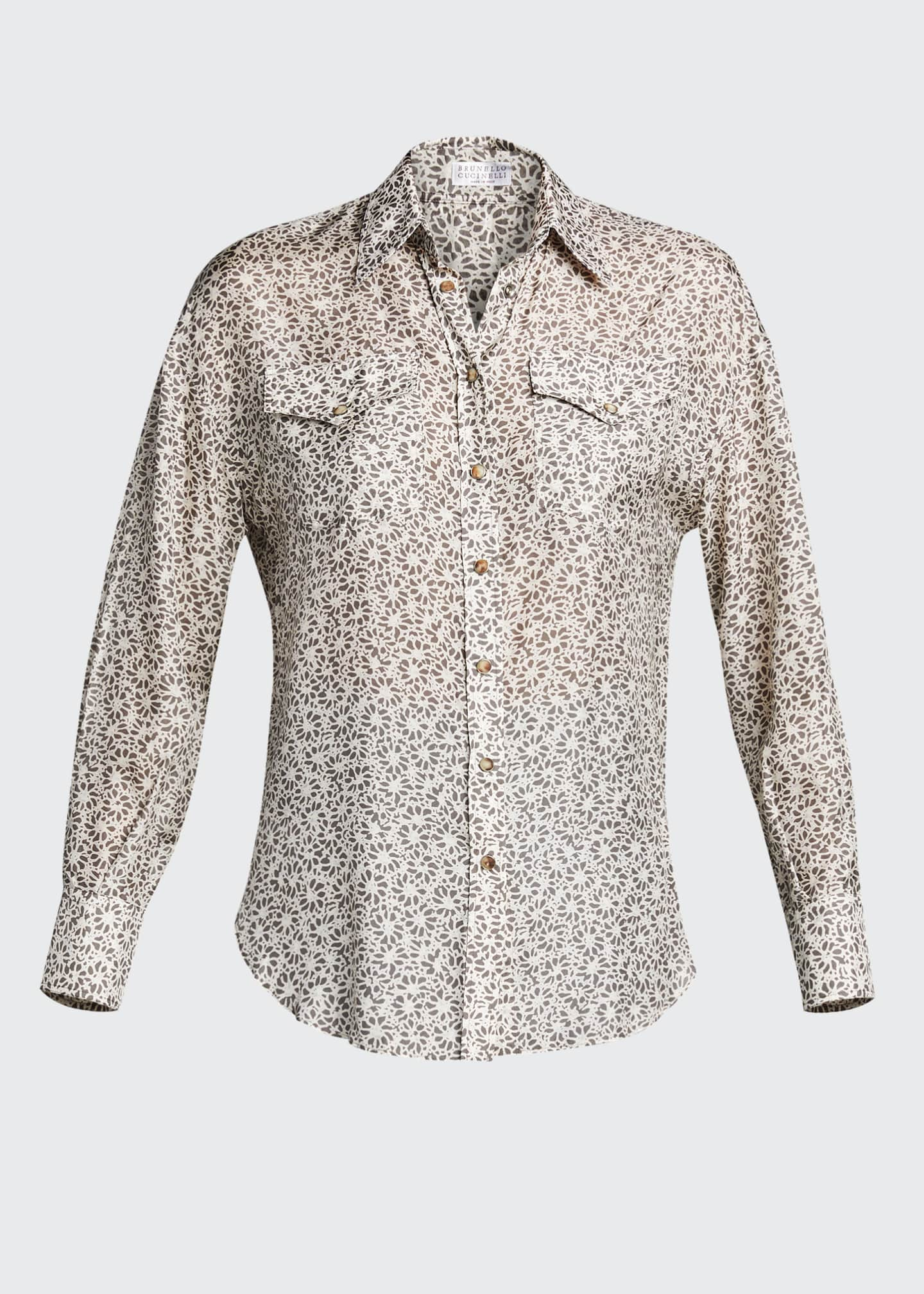 Image 5 of 5: Floral-Print Silk Blouse with Pockets