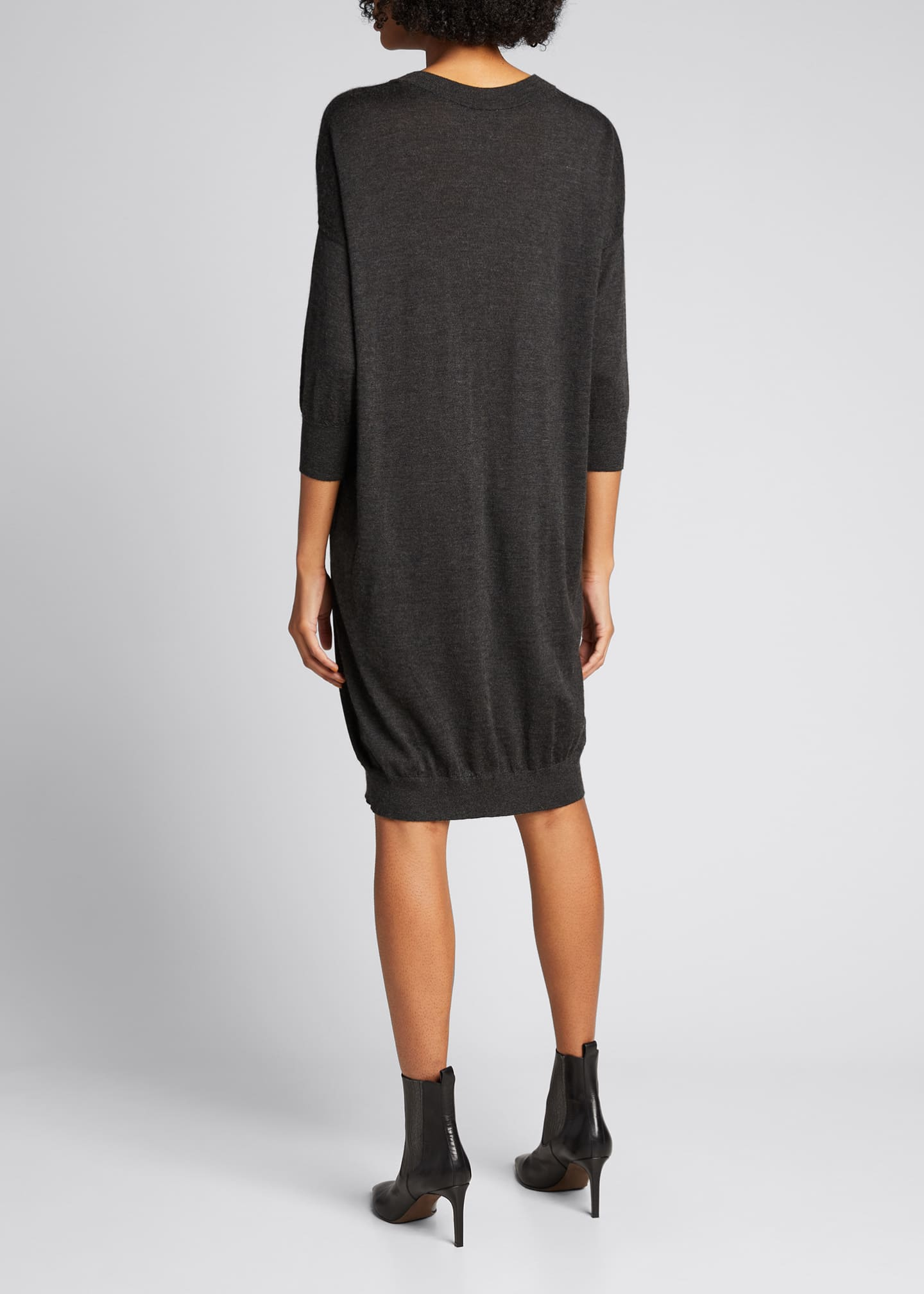 Image 2 of 5: Cashmere Silk Knit Dress with Monili Strap