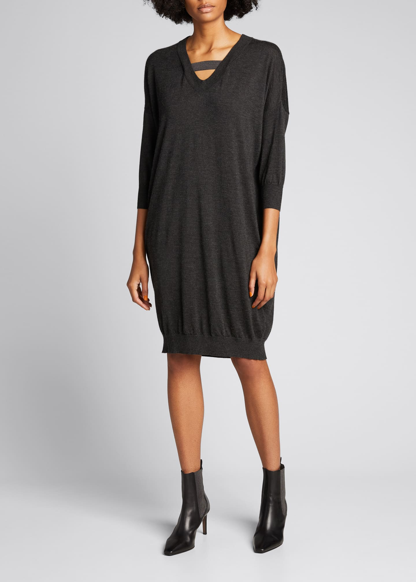 Image 3 of 5: Cashmere Silk Knit Dress with Monili Strap