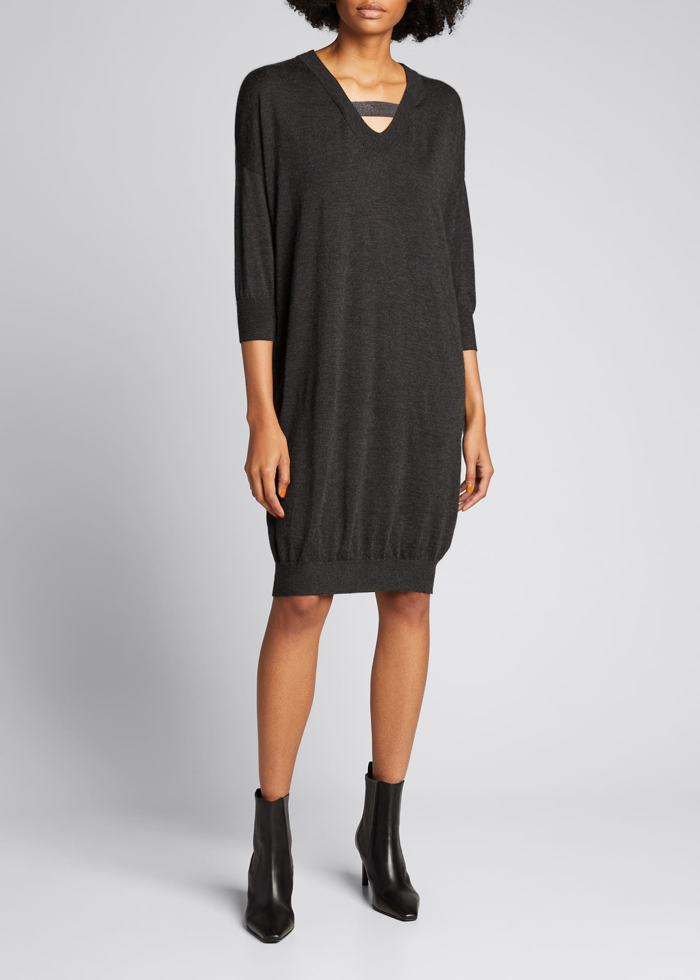 Image 1 of 5: Cashmere Silk Knit Dress with Monili Strap