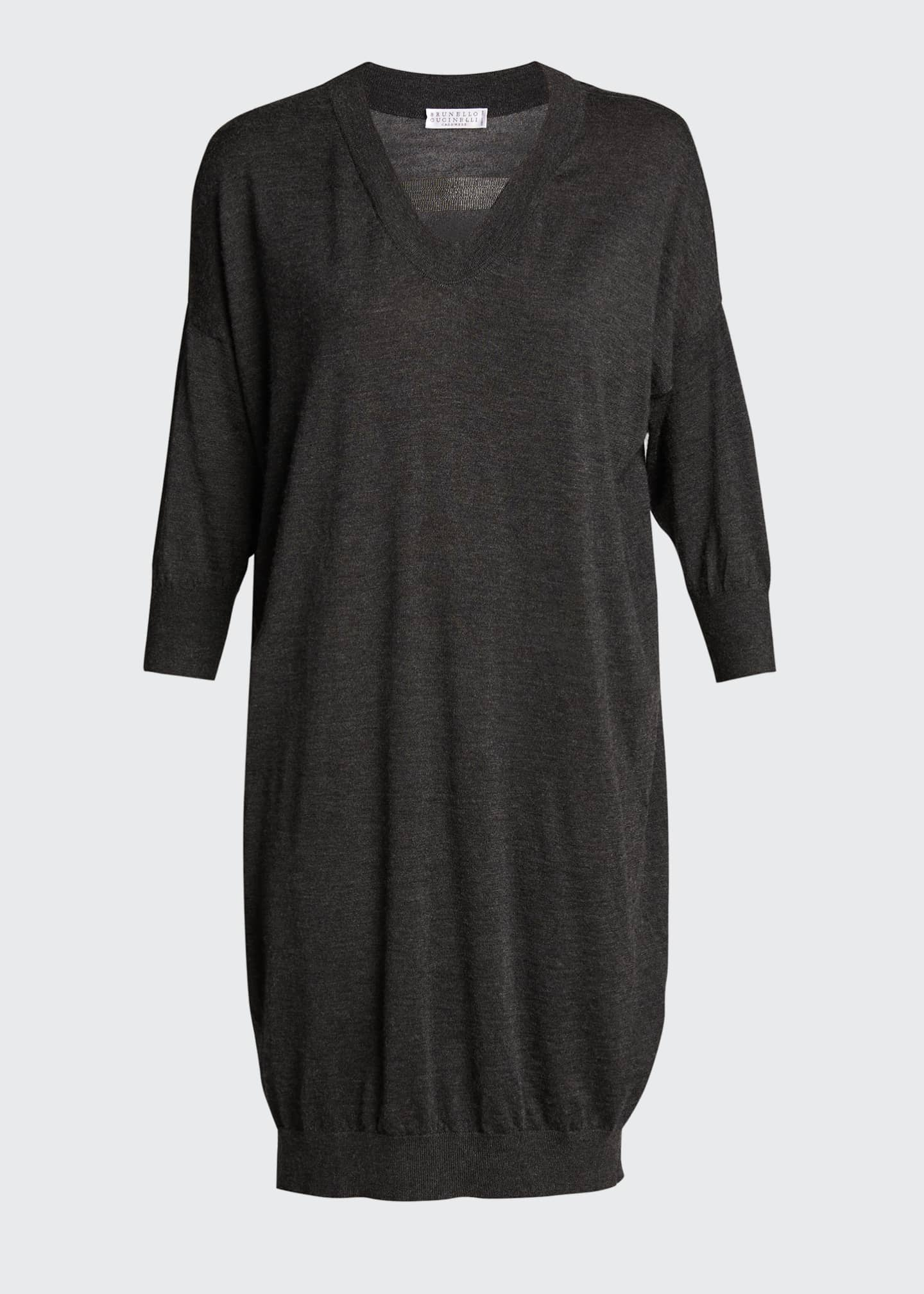 Image 5 of 5: Cashmere Silk Knit Dress with Monili Strap