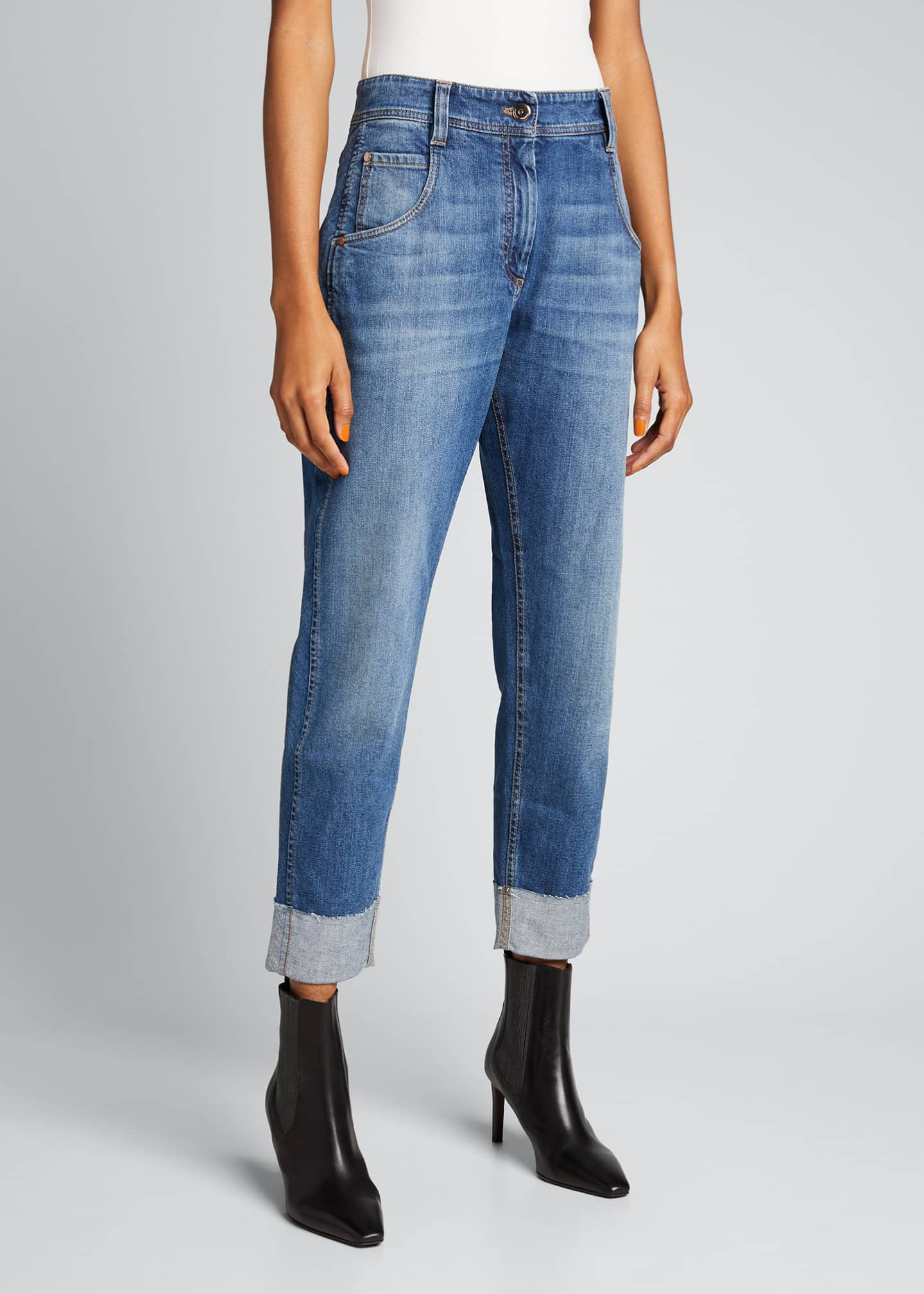 Image 3 of 5: Straight-Leg Denim Jeans in Medium Blue