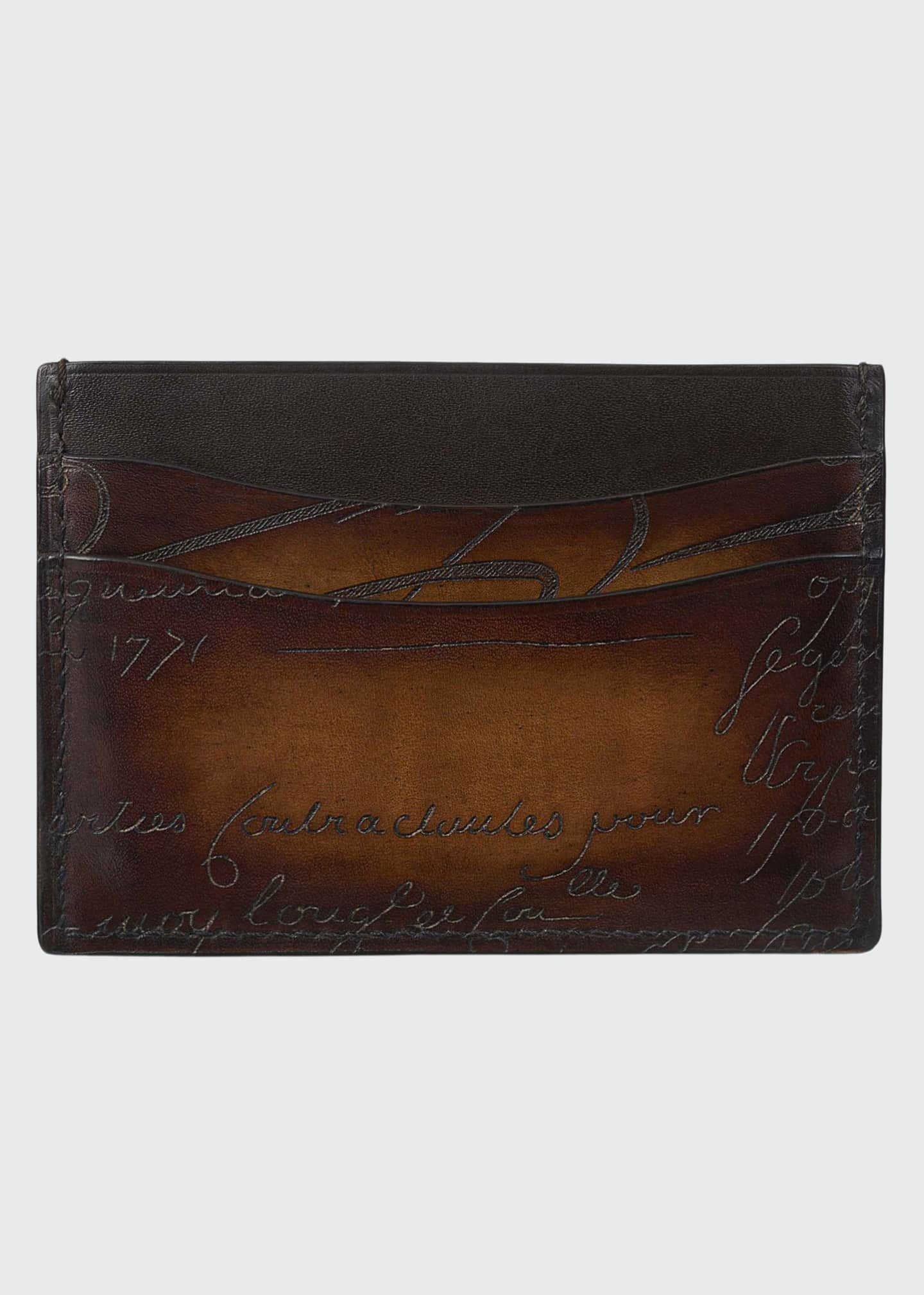 Image 1 of 1: Men's Bambou Scritto Leather Card Case