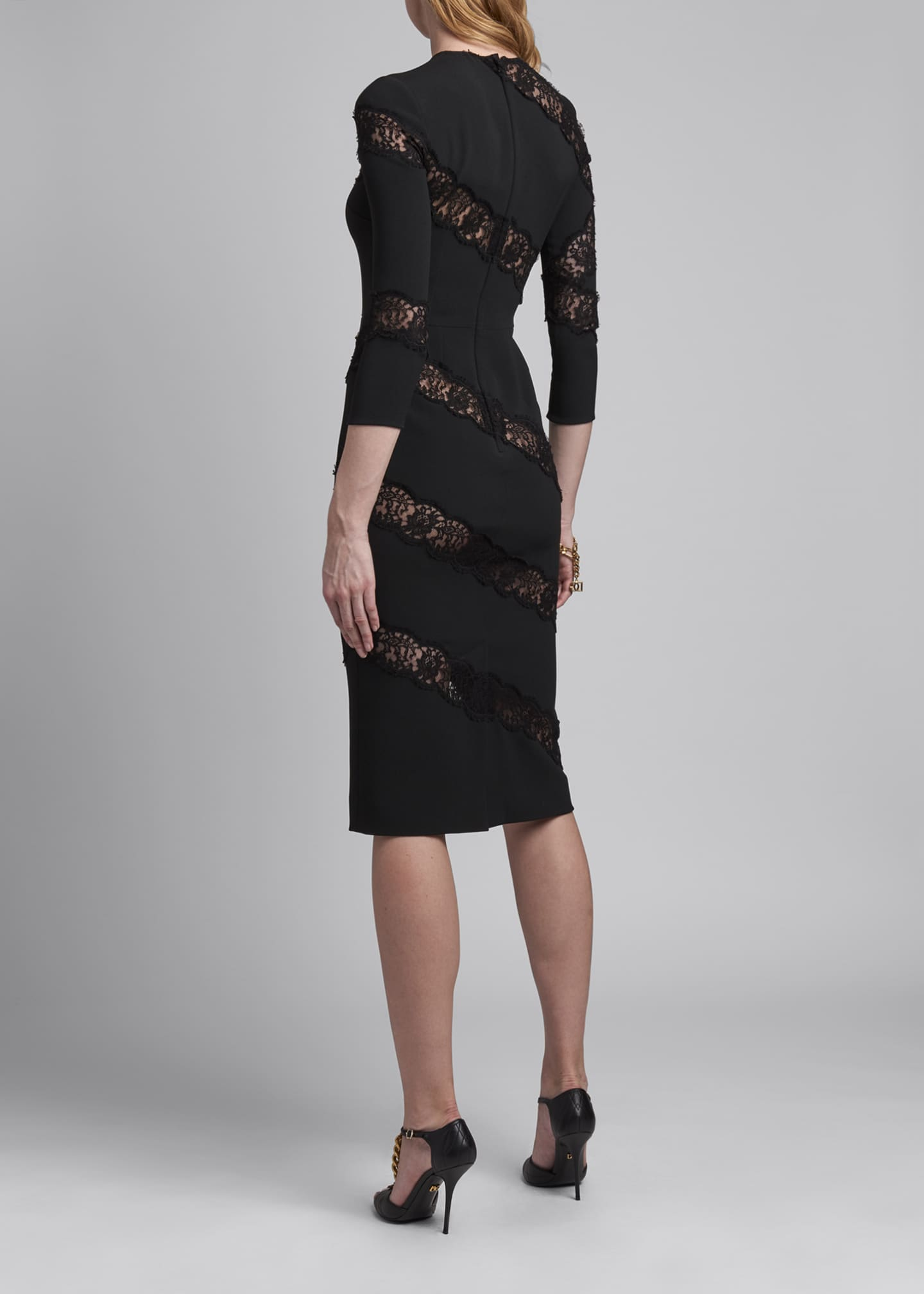 Image 2 of 2: Crewneck Sheath Dress with Angled Lace Insets