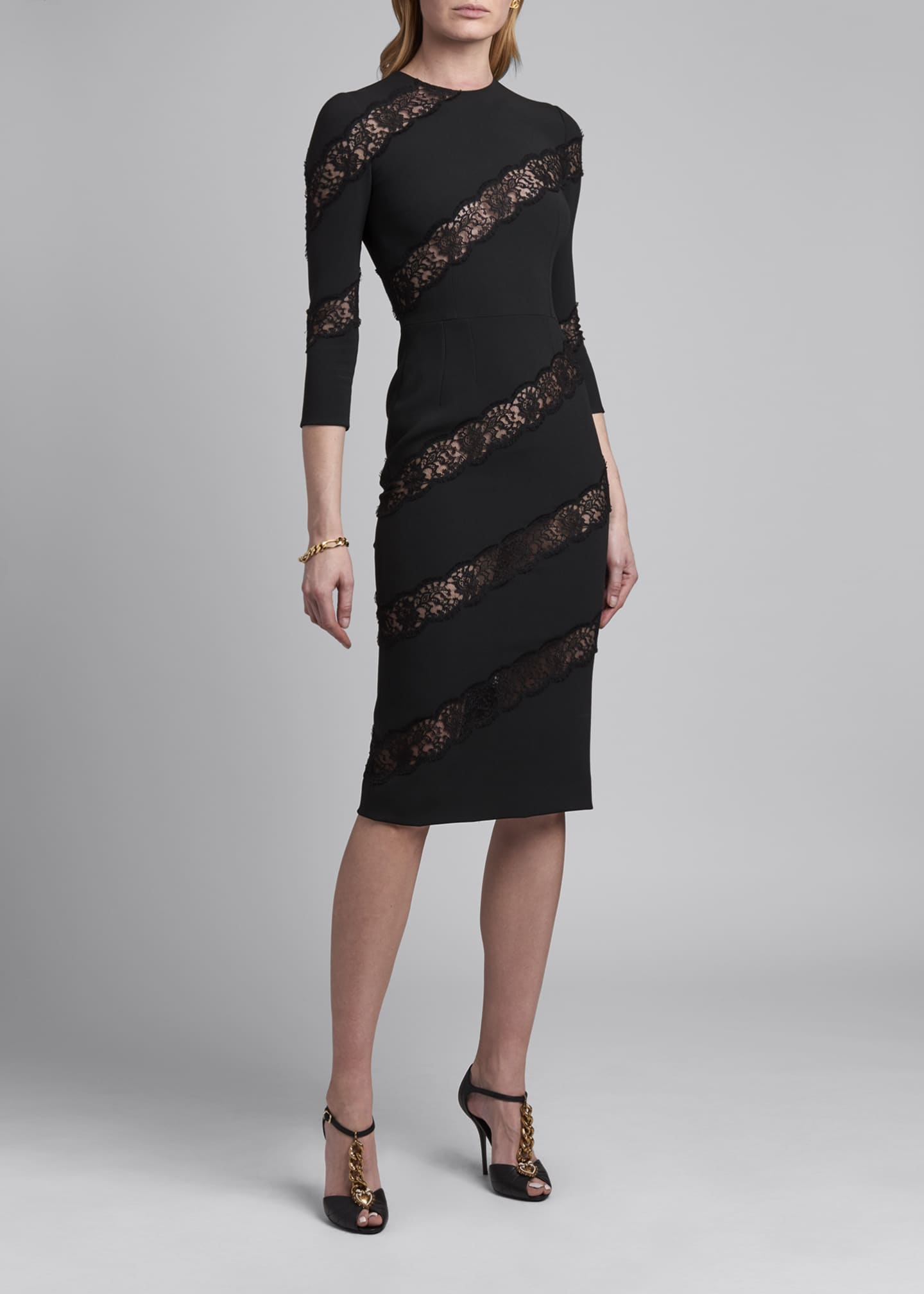 Image 1 of 2: Crewneck Sheath Dress with Angled Lace Insets