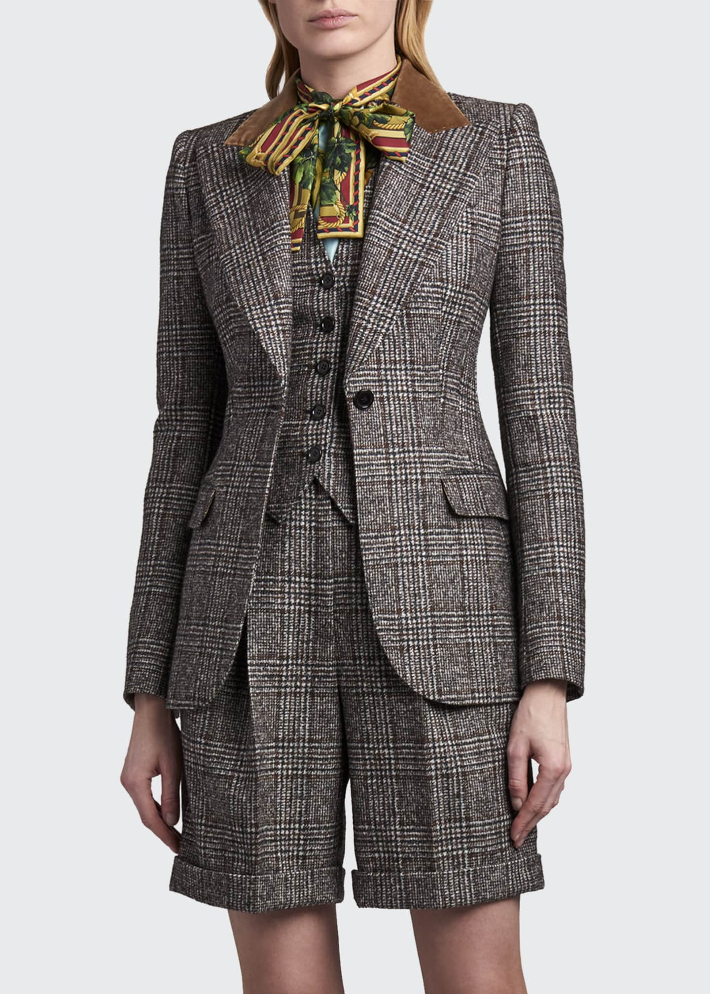 Image 3 of 4: Tartan Plaid Wool-Blend Jacket