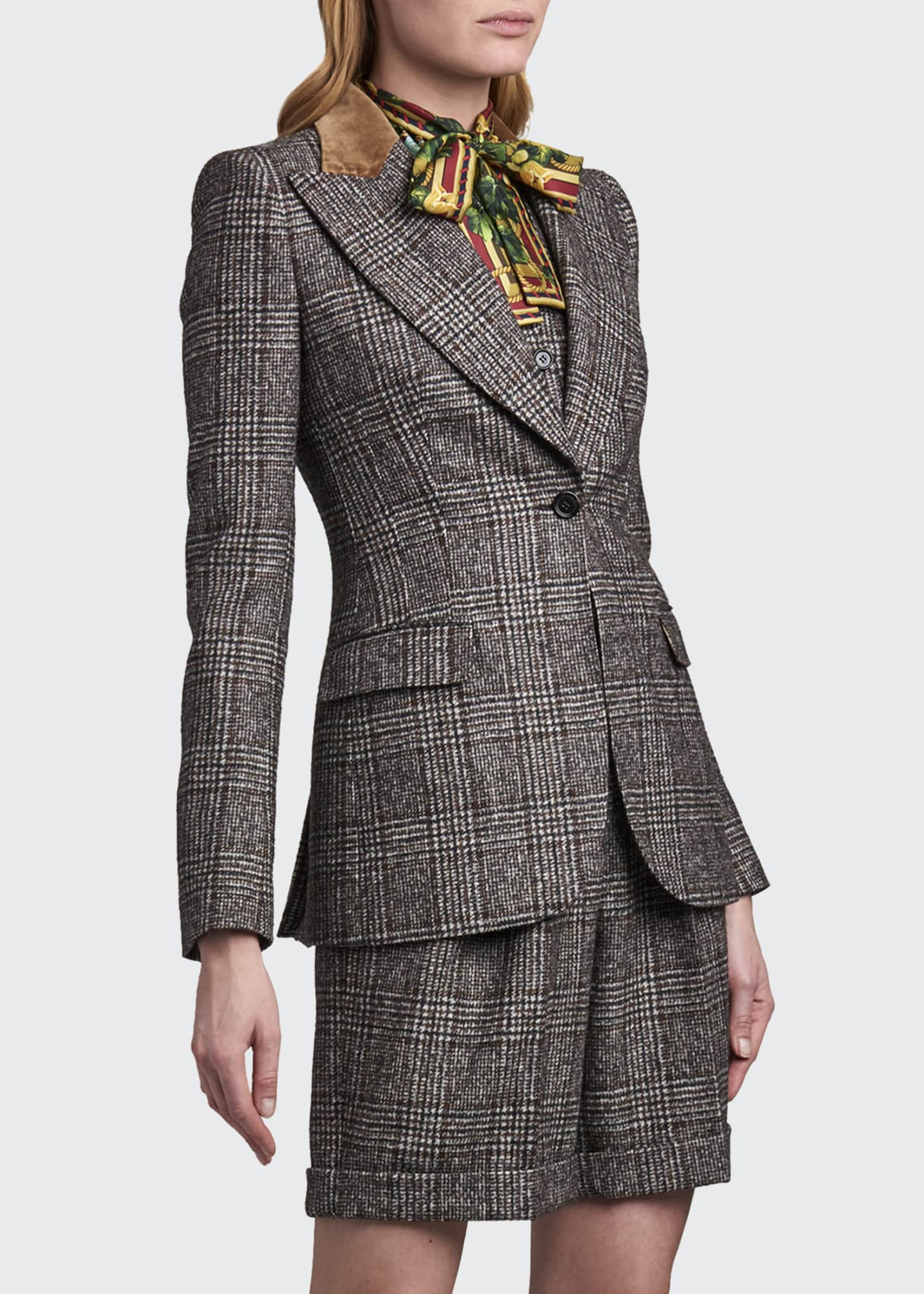 Image 1 of 4: Tartan Plaid Wool-Blend Jacket