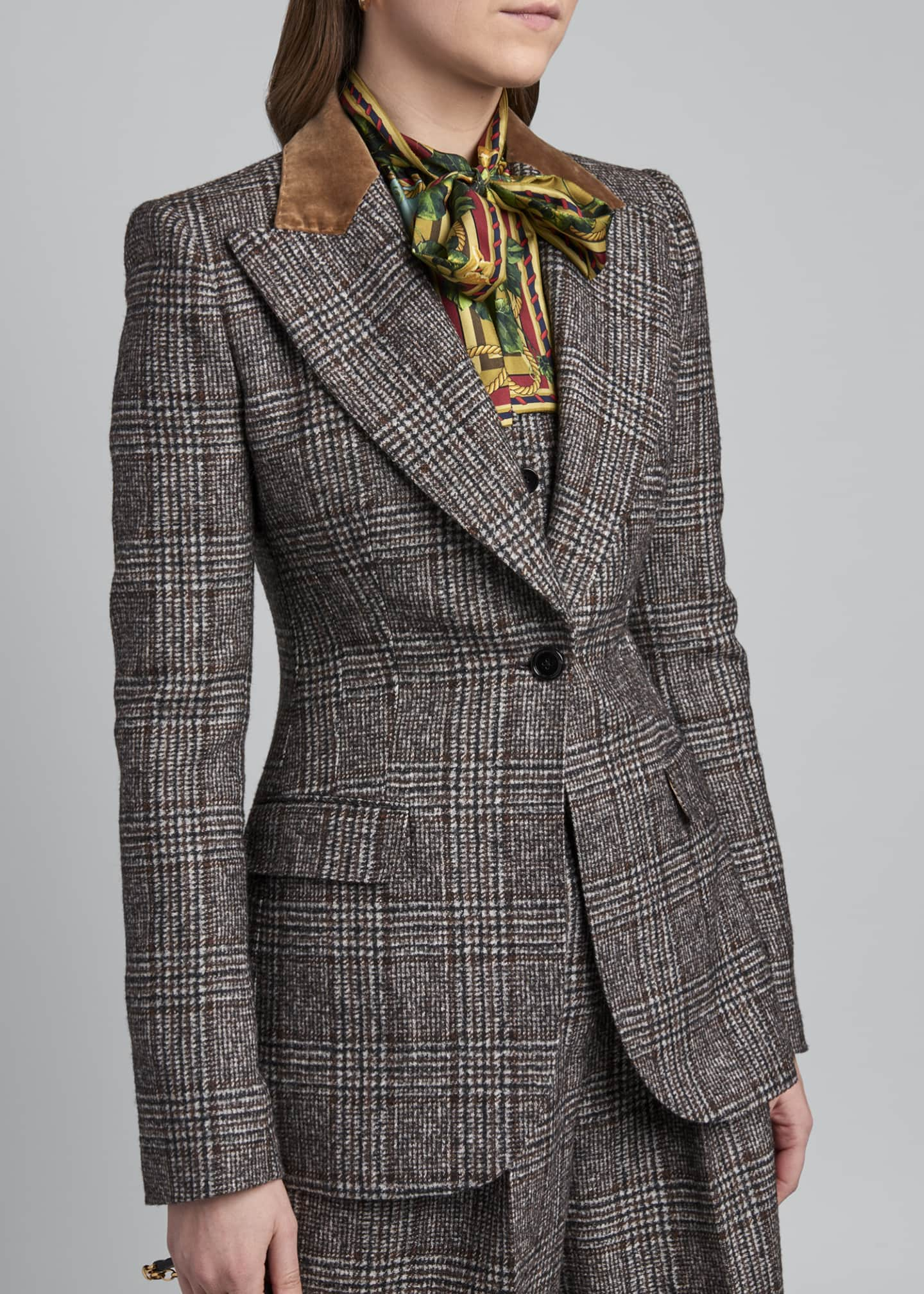 Image 4 of 4: Tartan Plaid Wool-Blend Jacket