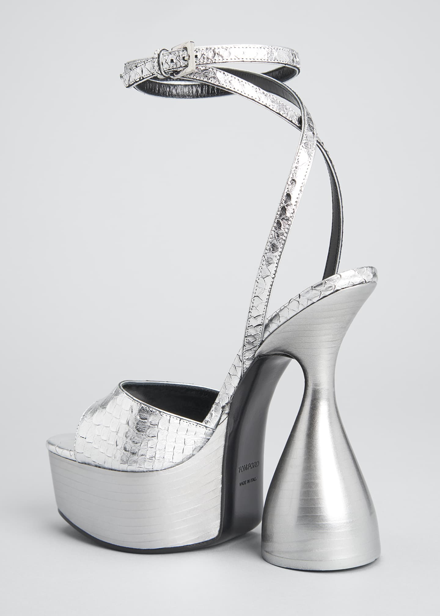Image 4 of 5: 160mm Metallic Python-Print Platform Sandals