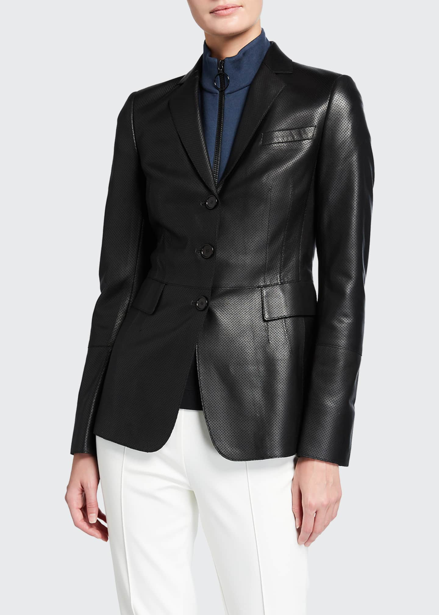 Image 1 of 2: Napa Leather Perforated Pin-Dot Blazer