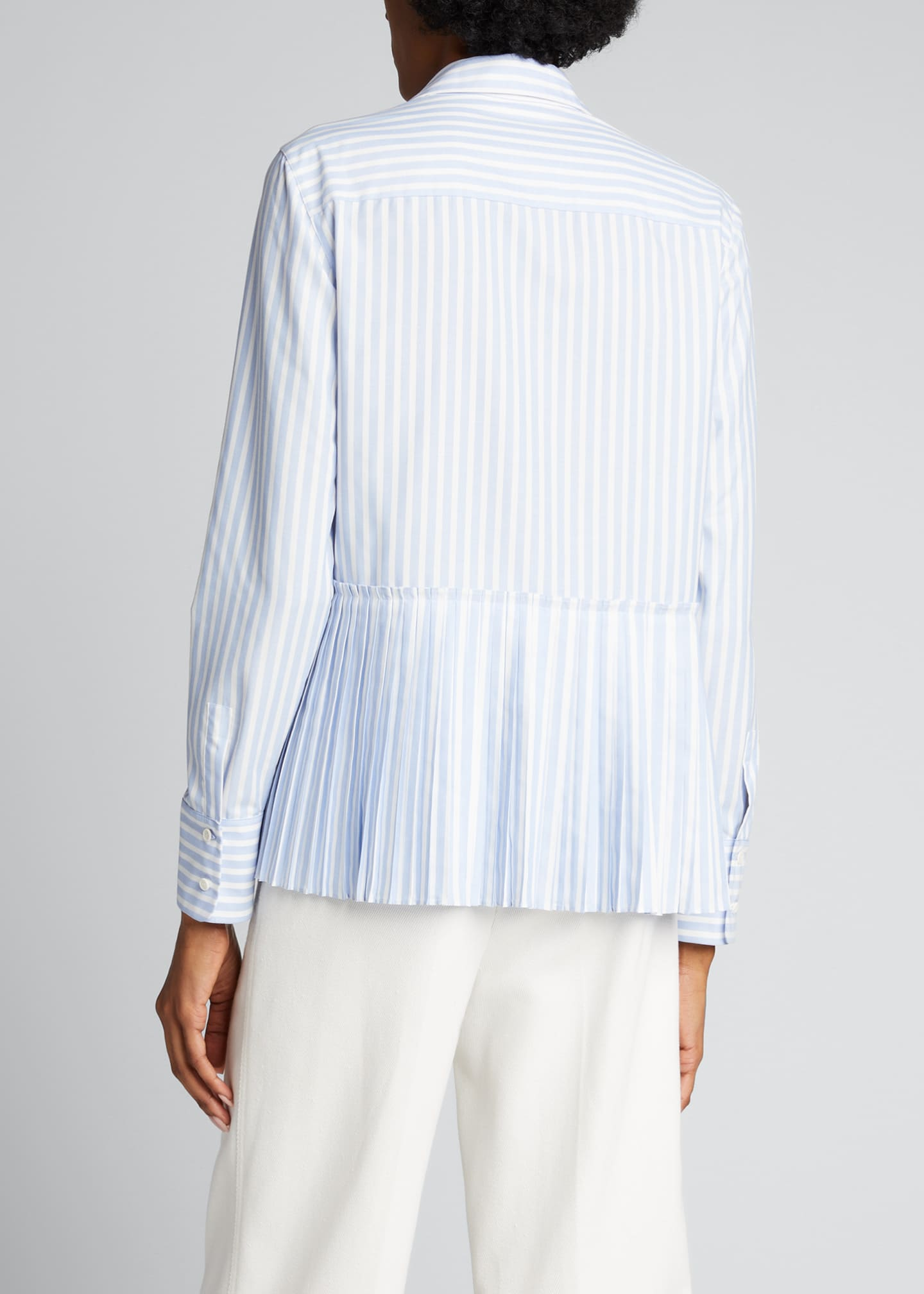 Image 2 of 5: Pleated Back Striped Button-Down Poplin Shirt