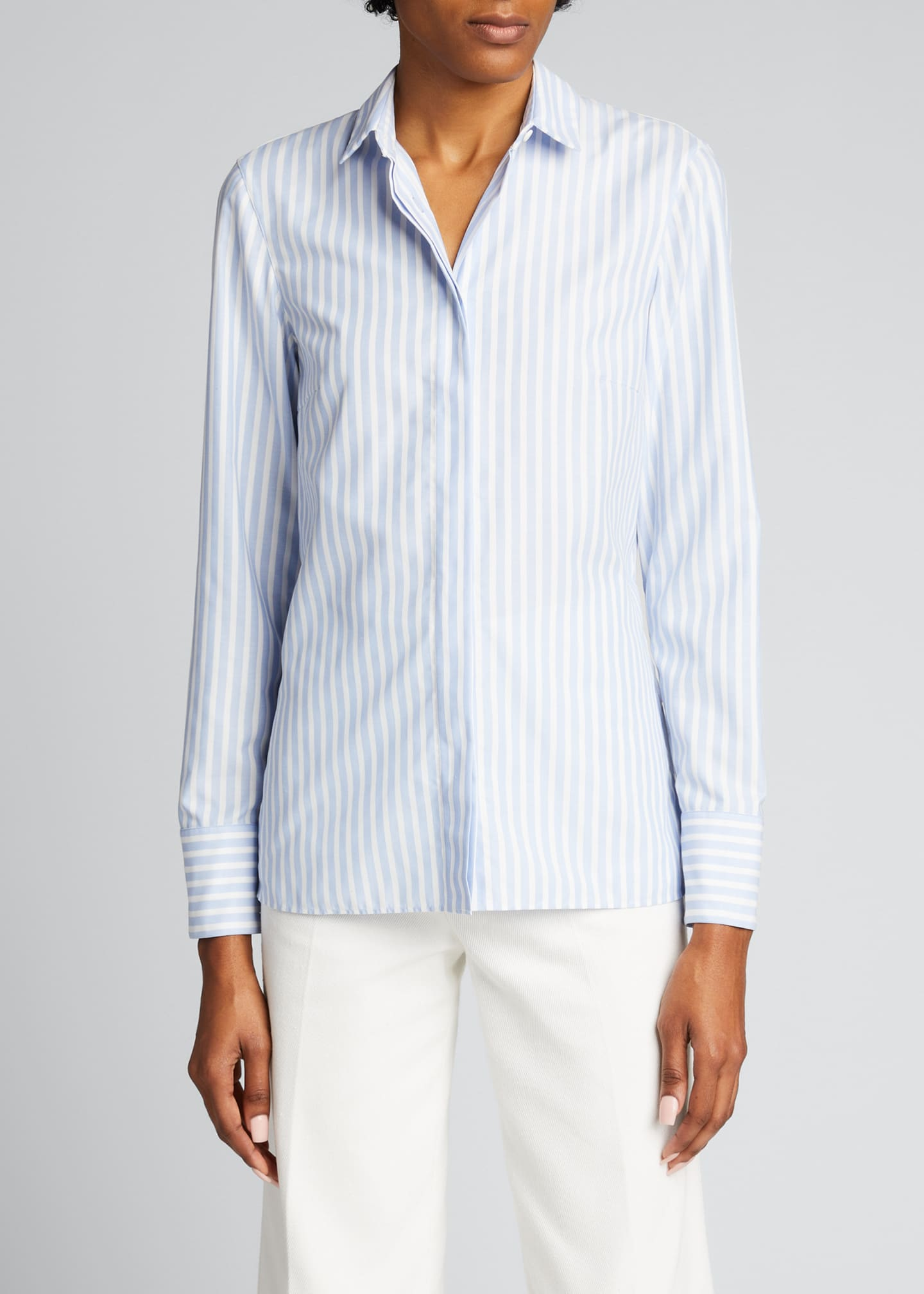 Image 3 of 5: Pleated Back Striped Button-Down Poplin Shirt