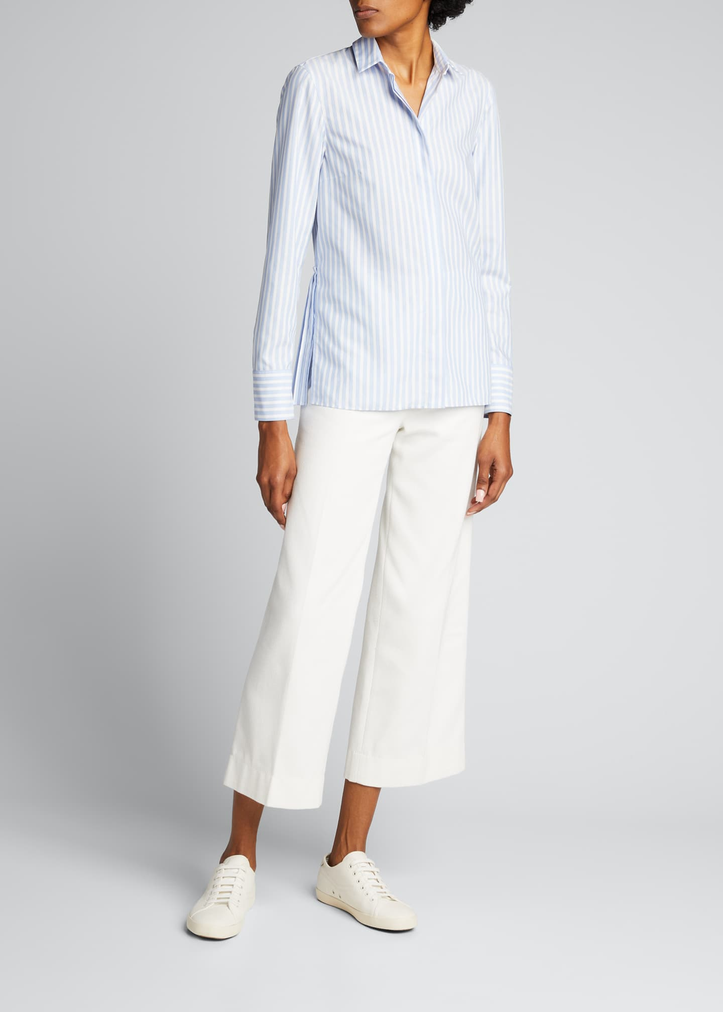 Image 1 of 5: Pleated Back Striped Button-Down Poplin Shirt