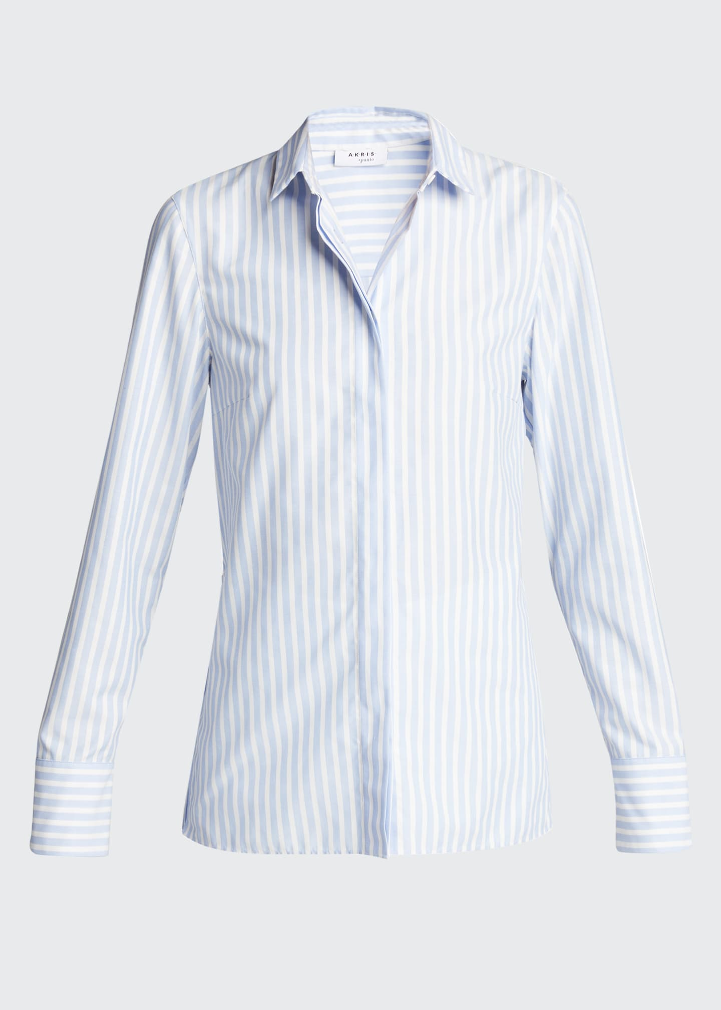 Image 5 of 5: Pleated Back Striped Button-Down Poplin Shirt