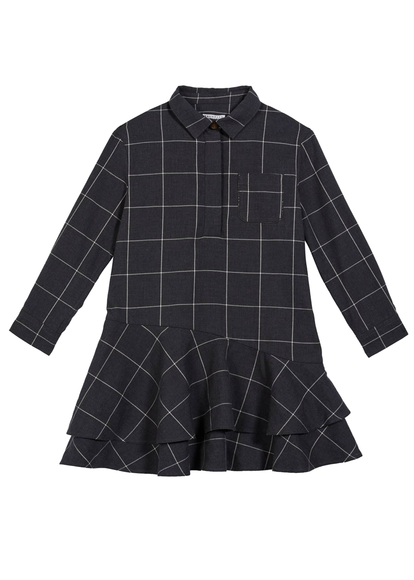 Image 1 of 1: Girl's Cotton Windowpane Ruffle-Hem Shirtdress, Size 12-14