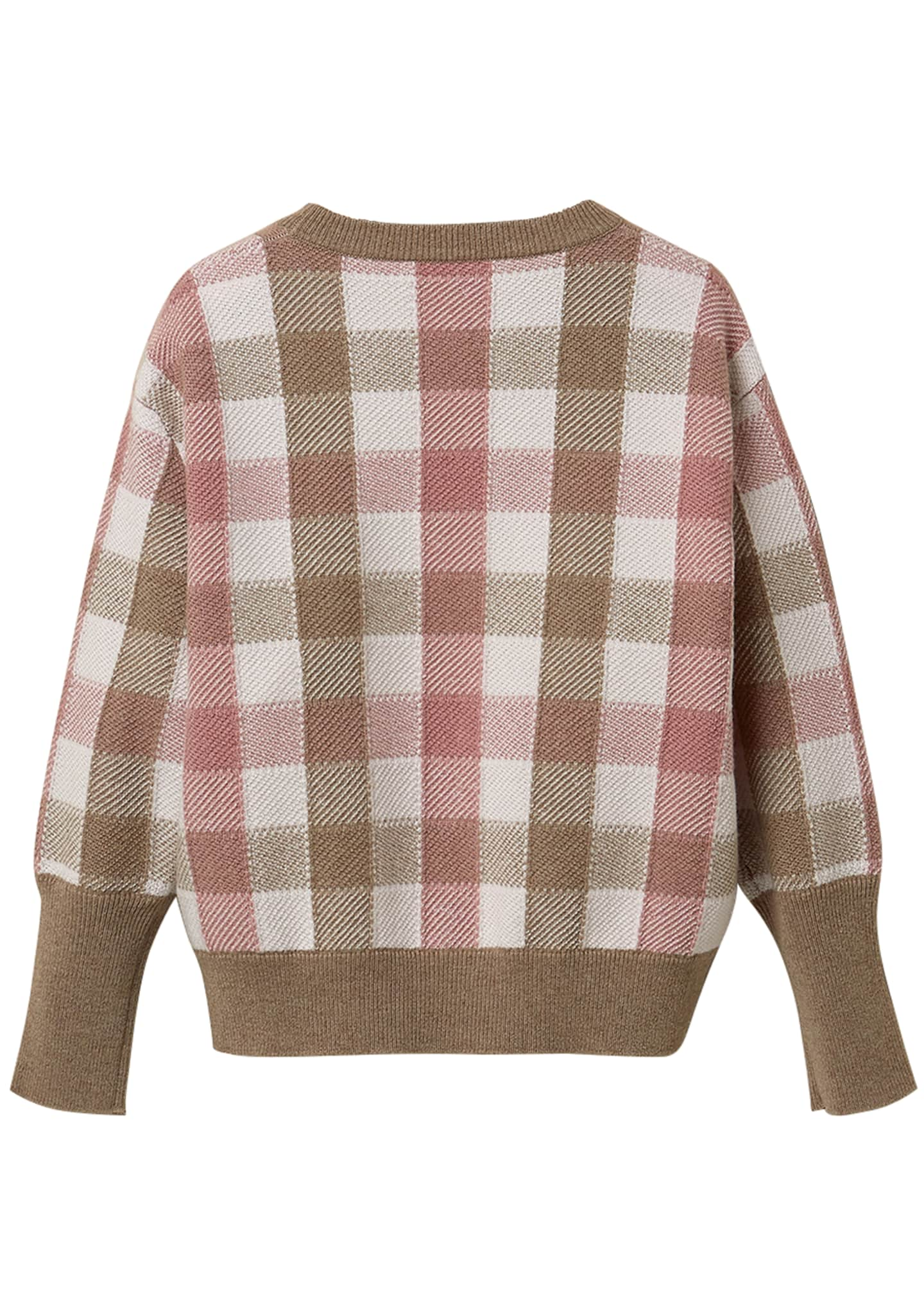 Image 2 of 3: Girl's Paillette Check Wool-Cashmere Sweater, Size 8-10