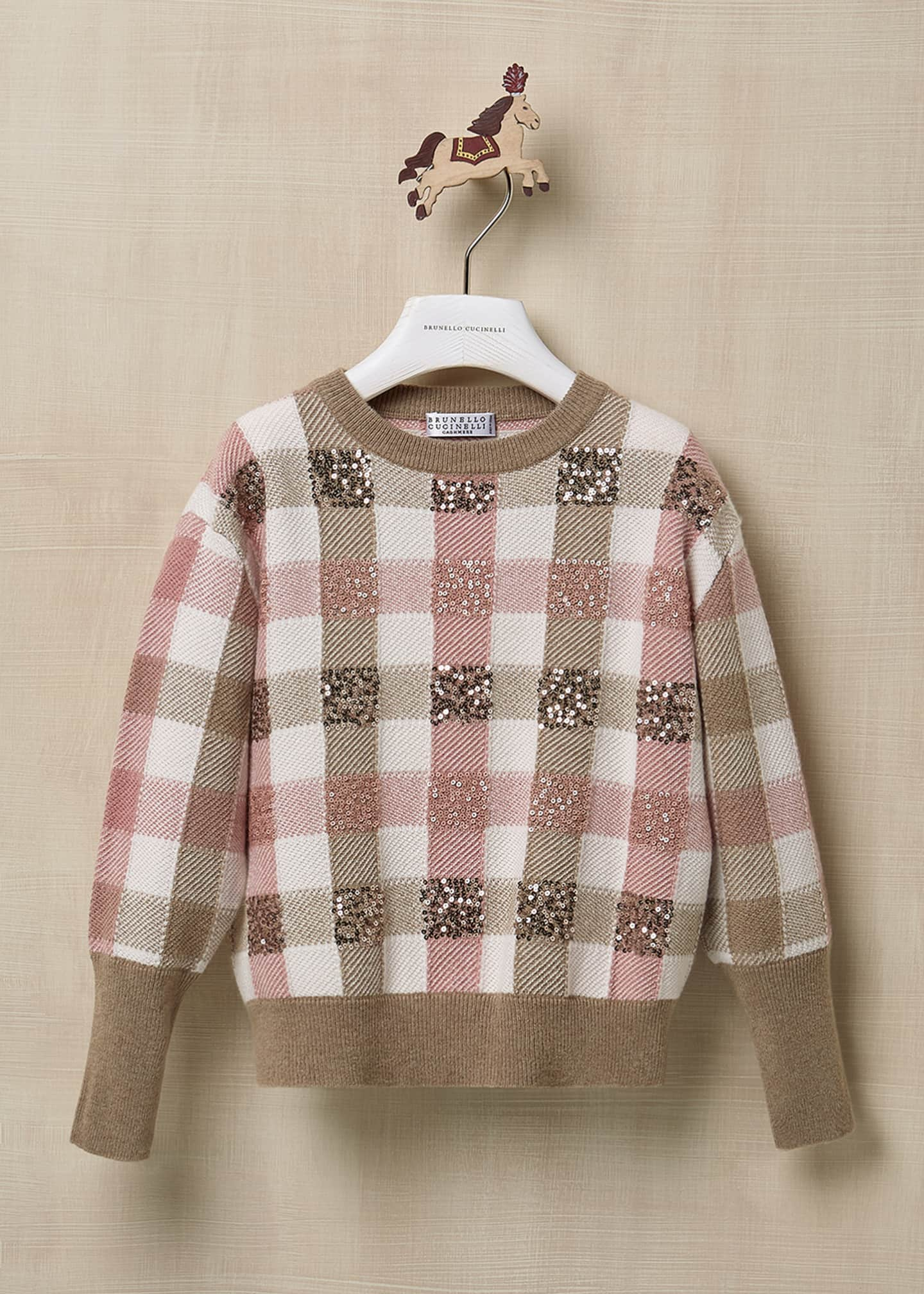 Image 1 of 3: Girl's Paillette Check Wool-Cashmere Sweater, Size 8-10