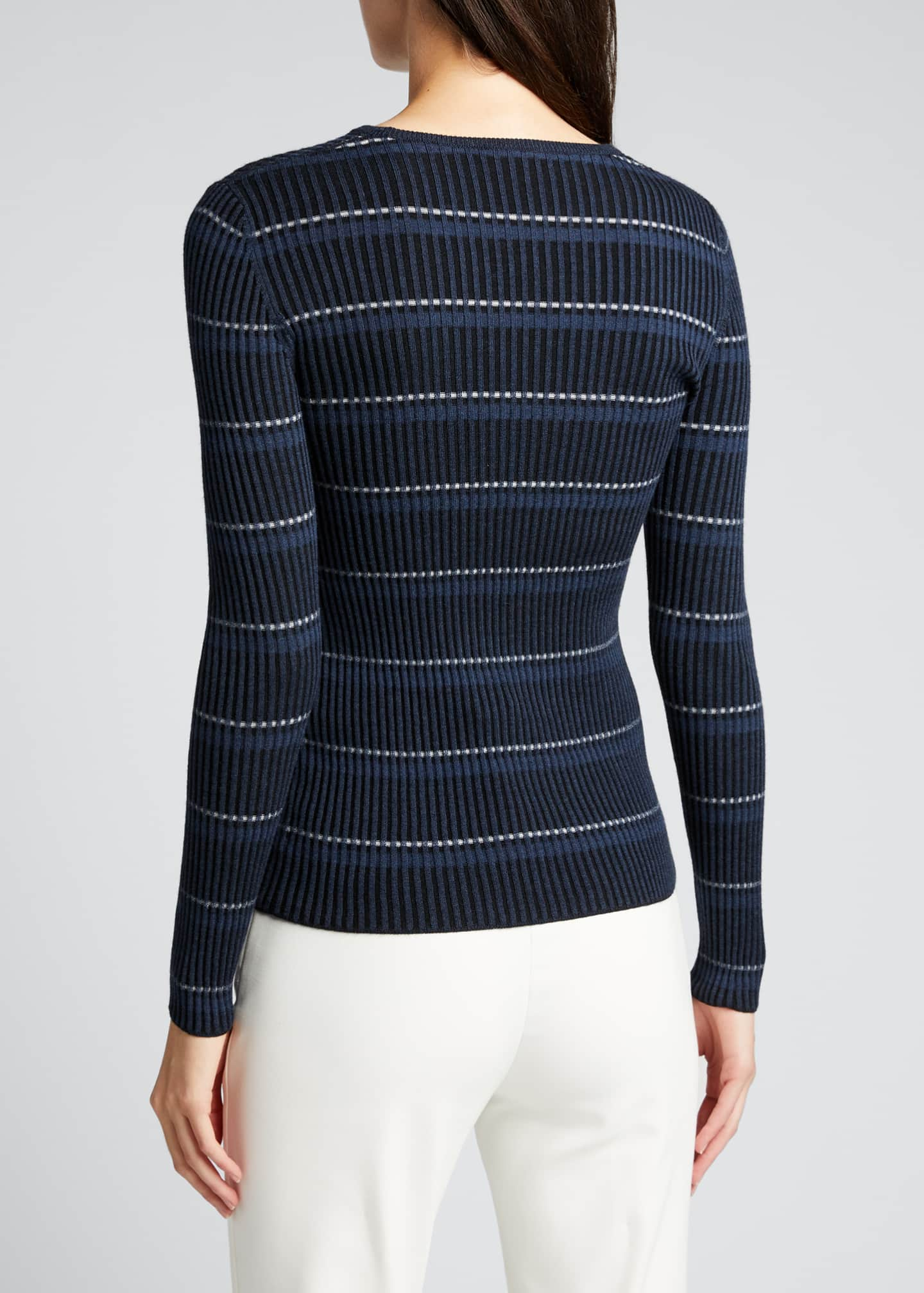 Image 2 of 5: Striped Long-Sleeve Wool Sweater
