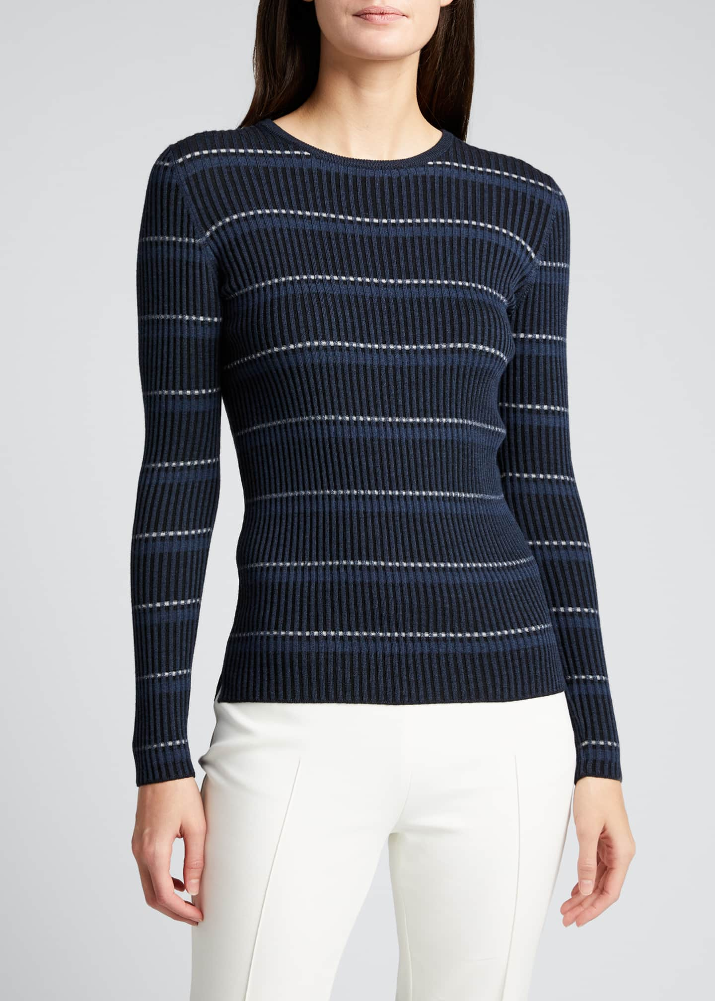 Image 3 of 5: Striped Long-Sleeve Wool Sweater