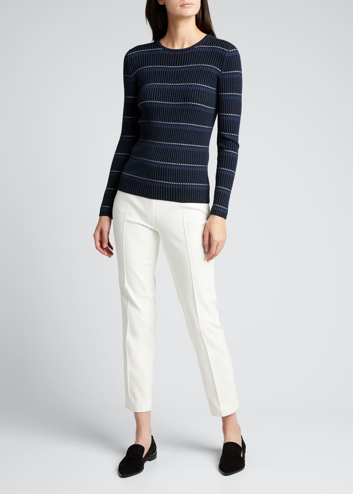 Image 1 of 5: Striped Long-Sleeve Wool Sweater