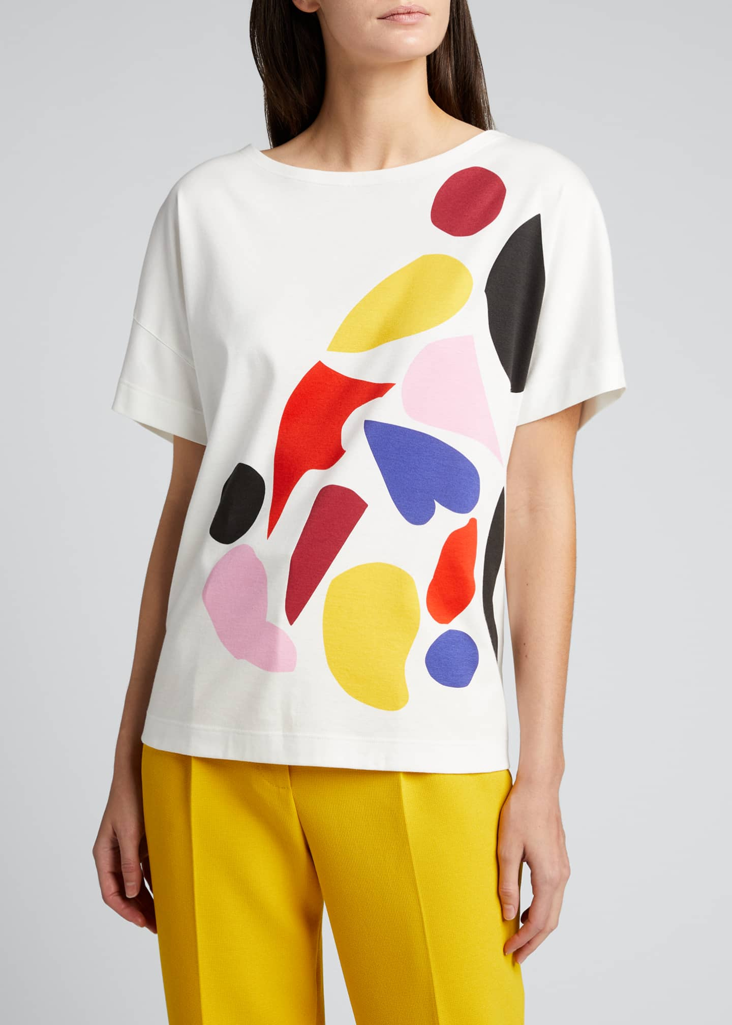 Image 3 of 5: Abstract Print Cotton T-Shirt