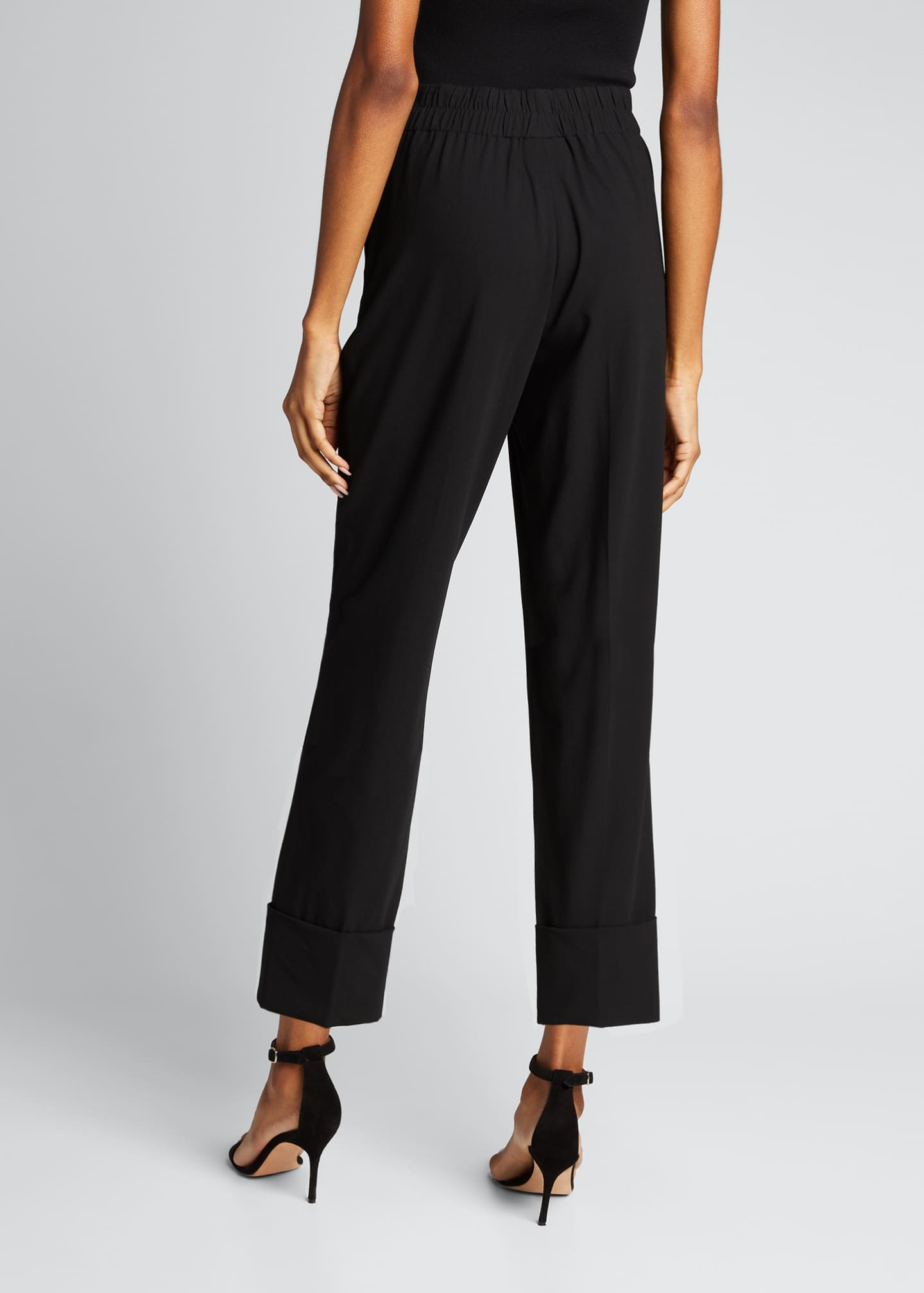 Image 2 of 5: Wool Cropped Straight-Leg Elastic Pants