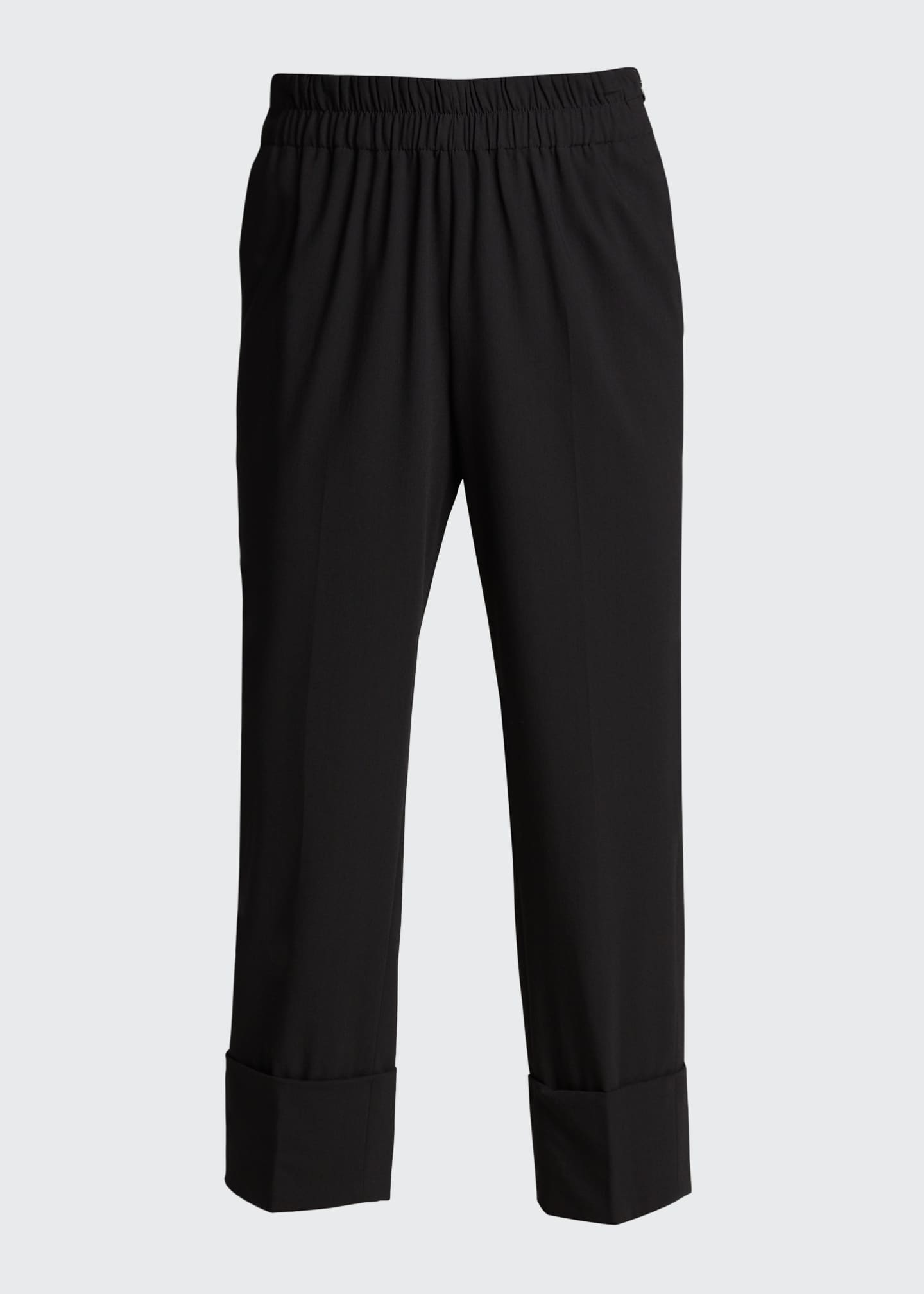 Image 5 of 5: Wool Cropped Straight-Leg Elastic Pants