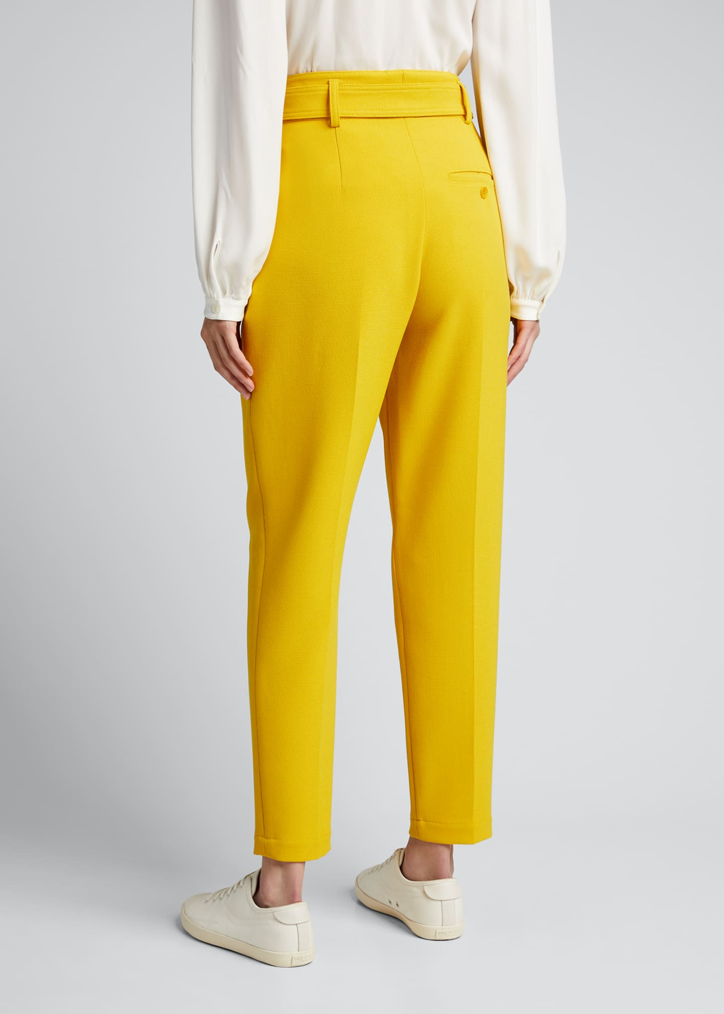 Image 2 of 5: Fred Belted Straight-Leg Cropped Crepe Pants