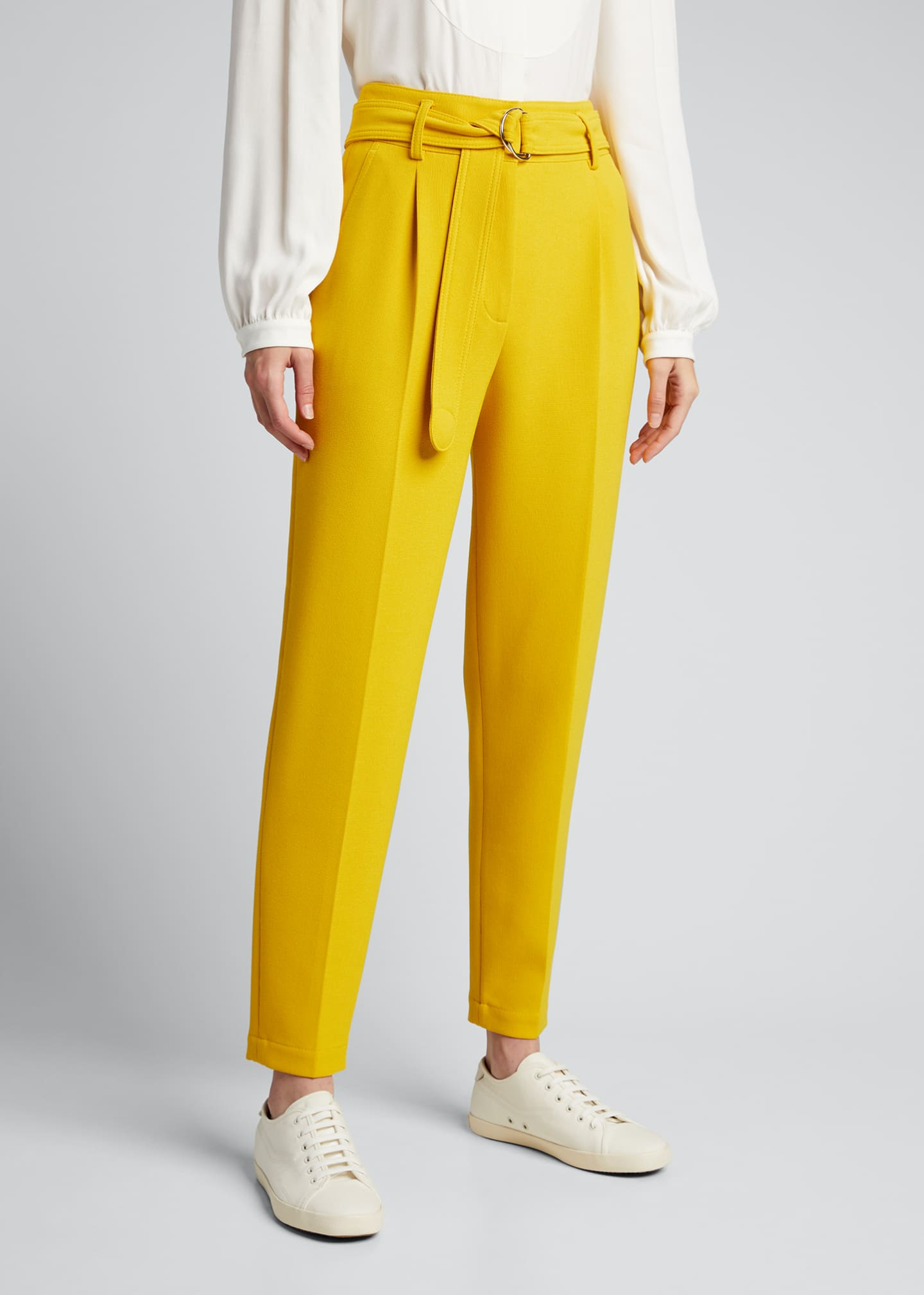 Image 3 of 5: Fred Belted Straight-Leg Cropped Crepe Pants