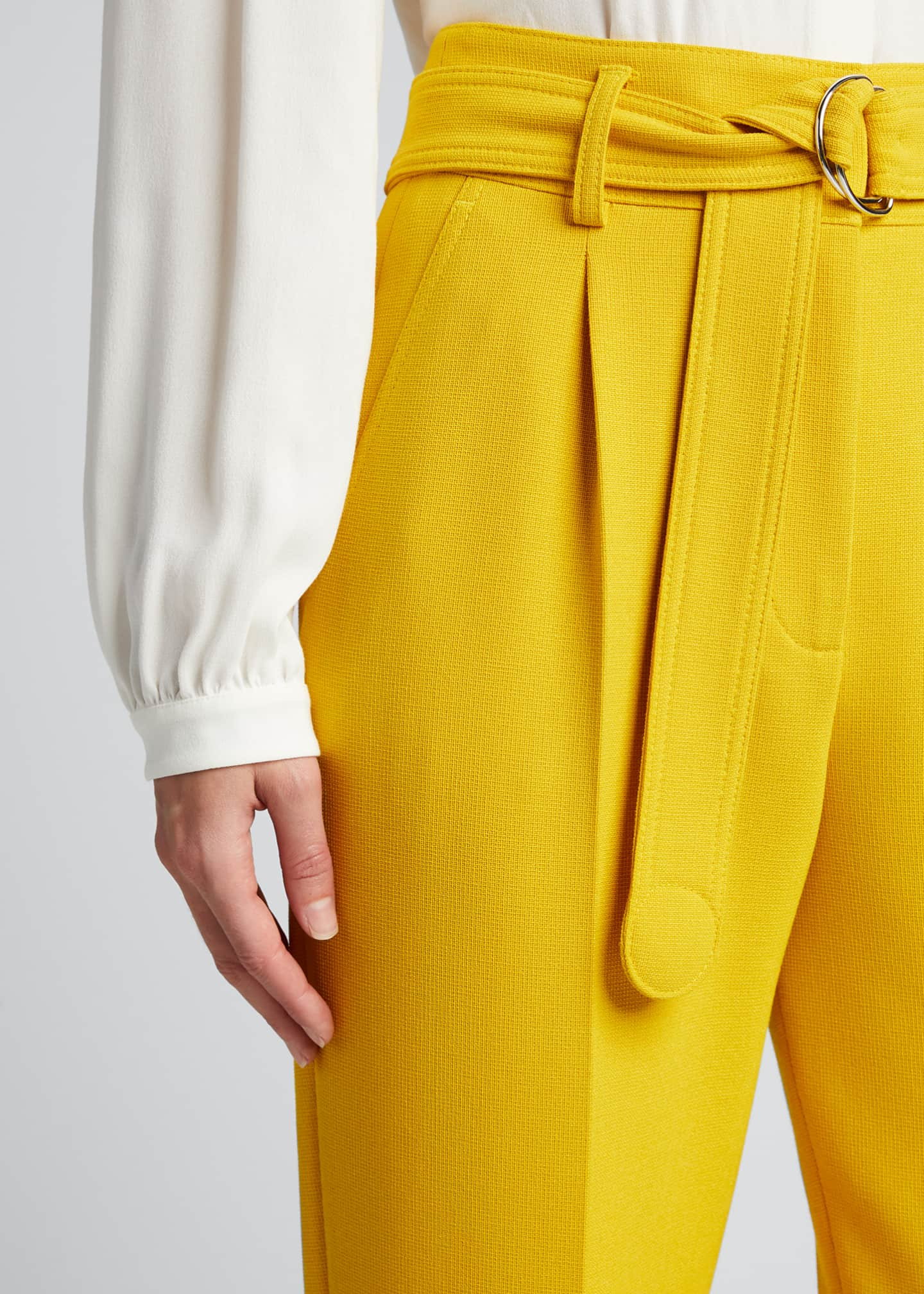 Image 4 of 5: Fred Belted Straight-Leg Cropped Crepe Pants