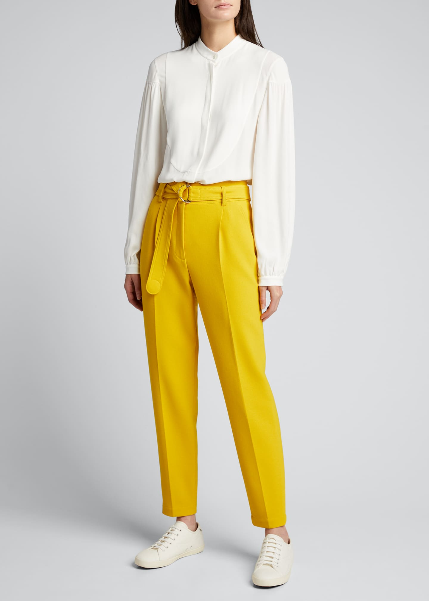Image 1 of 5: Fred Belted Straight-Leg Cropped Crepe Pants