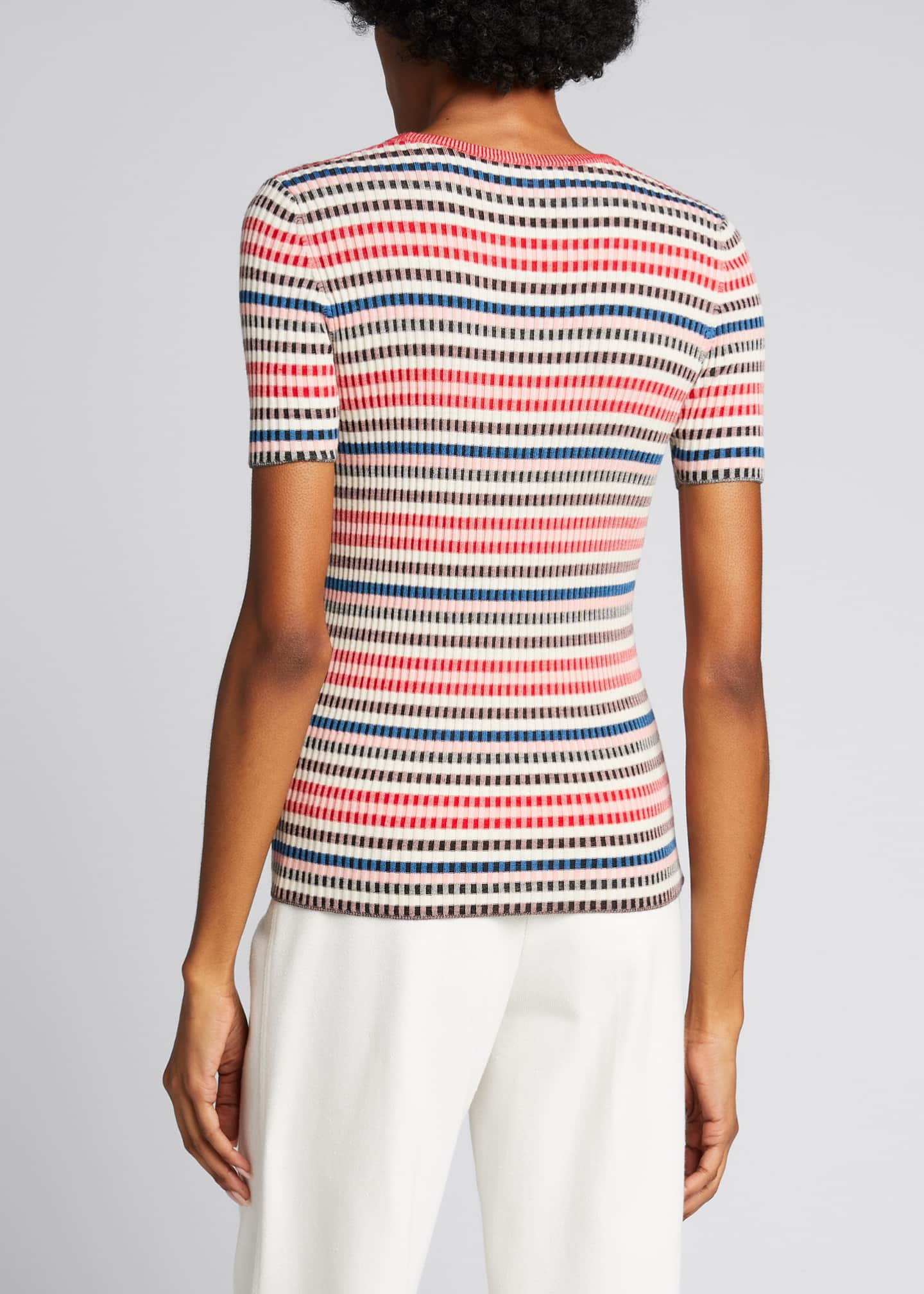 Image 2 of 5: Striped Rib-Knit Short-Sleeve Wool Sweater