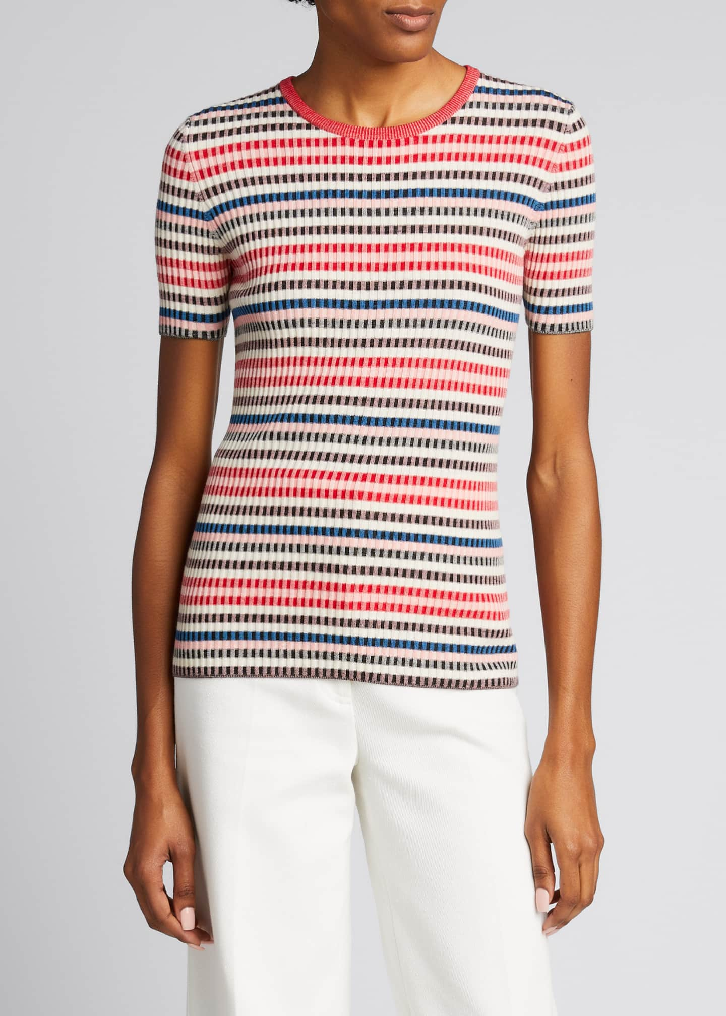 Image 3 of 5: Striped Rib-Knit Short-Sleeve Wool Sweater