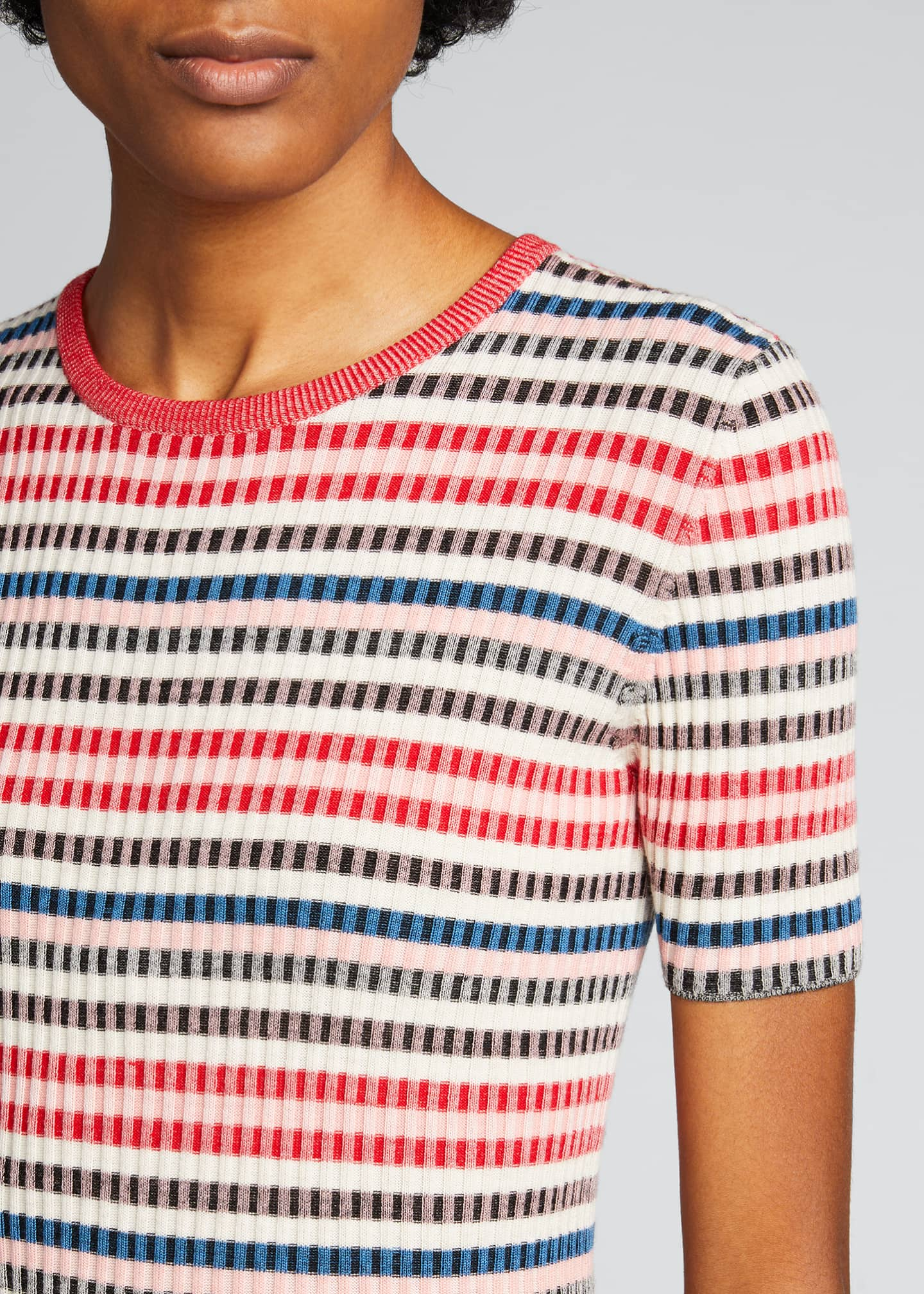 Image 4 of 5: Striped Rib-Knit Short-Sleeve Wool Sweater