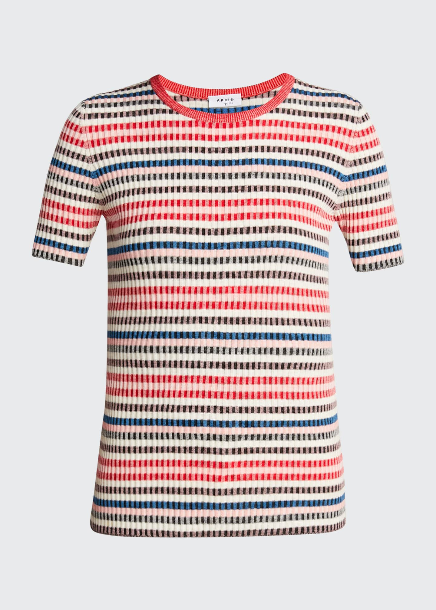 Image 5 of 5: Striped Rib-Knit Short-Sleeve Wool Sweater