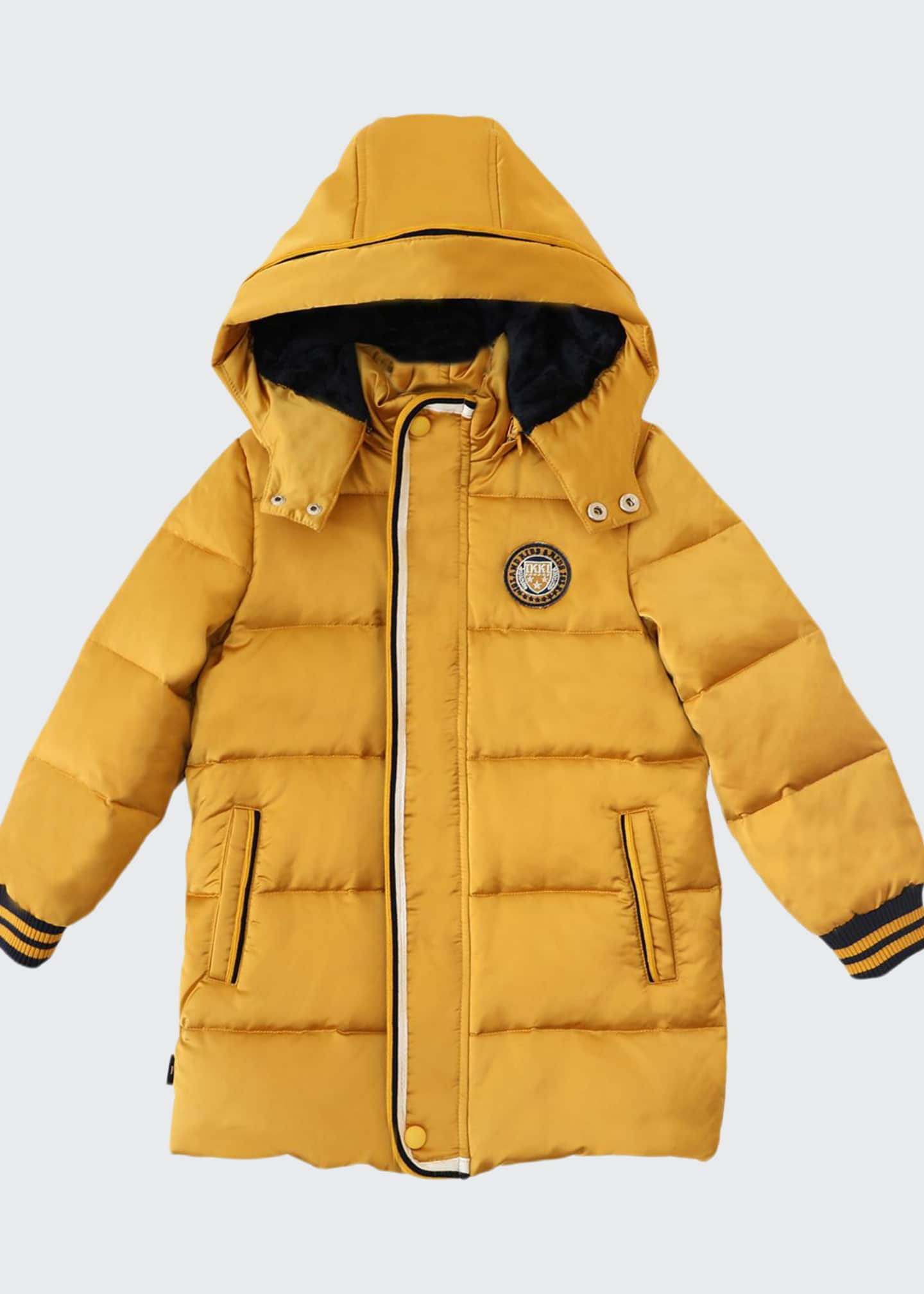 Image 1 of 2: Boy's Quilted Hooded Puffer Coat, Size 4-14