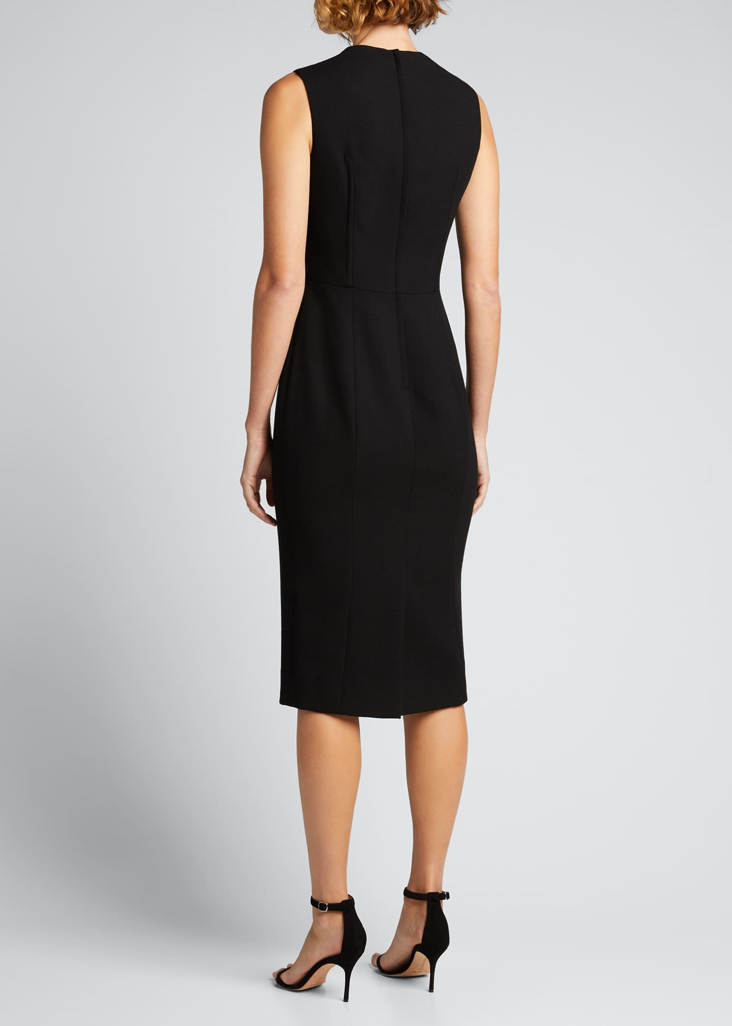Image 2 of 5: Wool-Blend Crepe Sheath Midi Dress